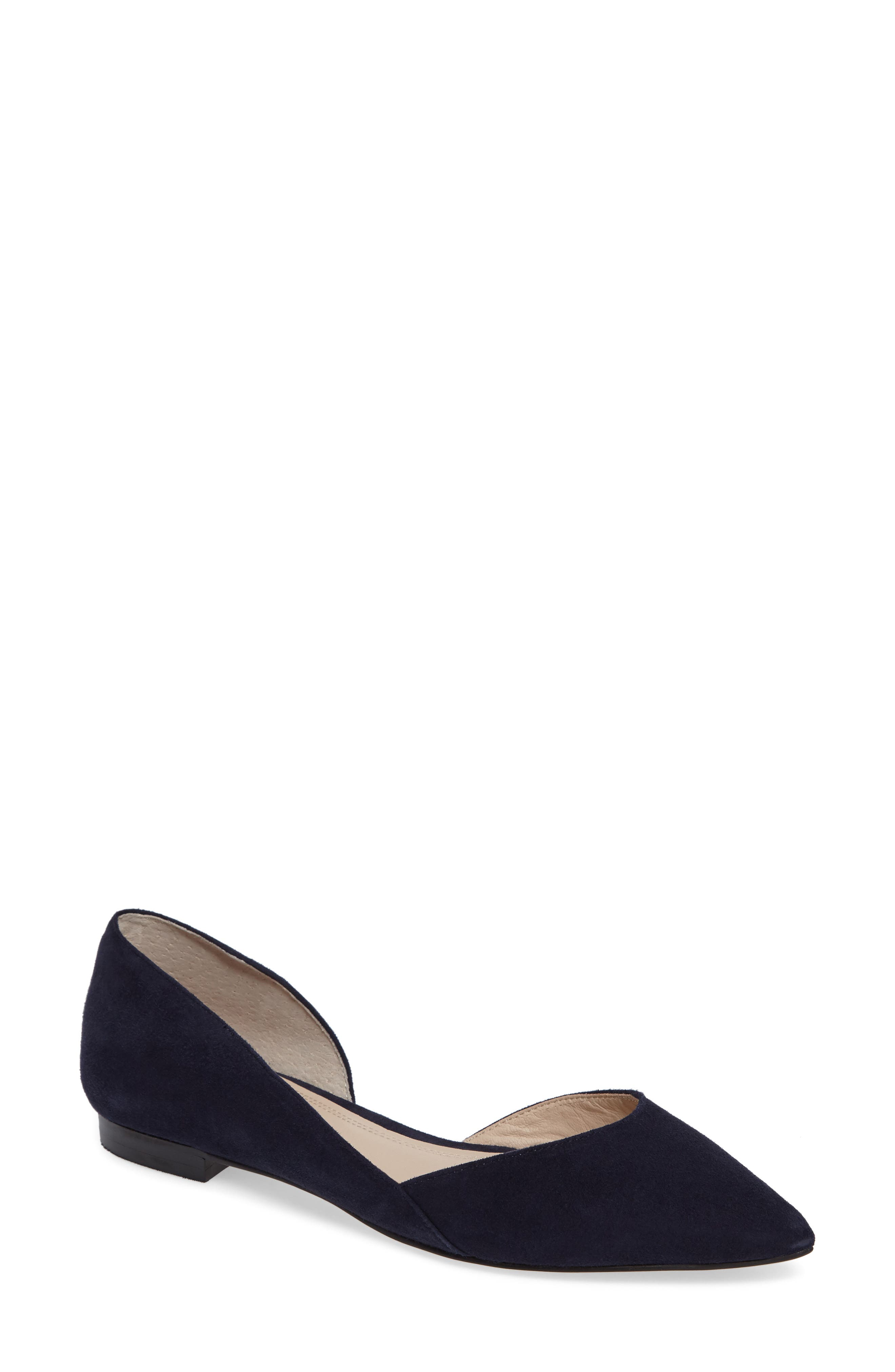 'Sunny' Half d'Orsay Flat,                         Main,                         color, Bold Blue Suede