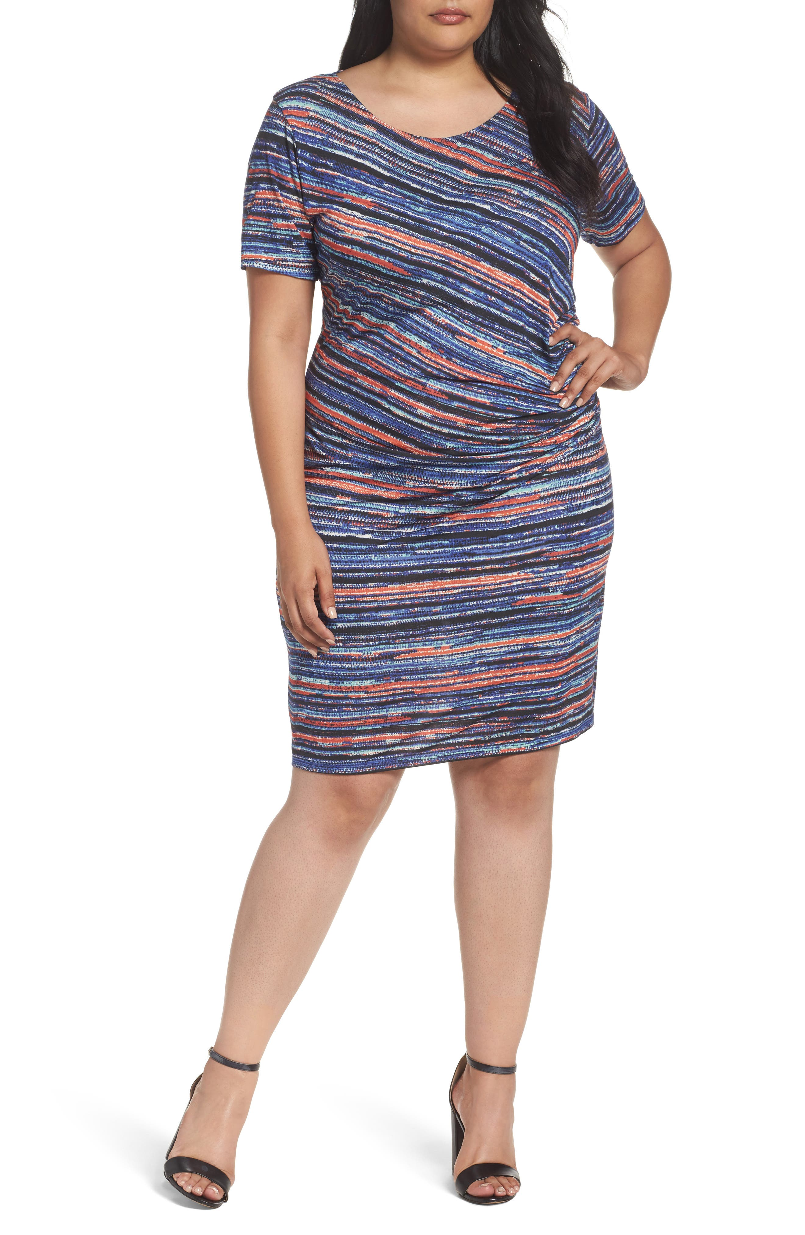 Alternate Image 1 Selected - Three Dots Painterly Stripe Sheath Dress (Plus Size)