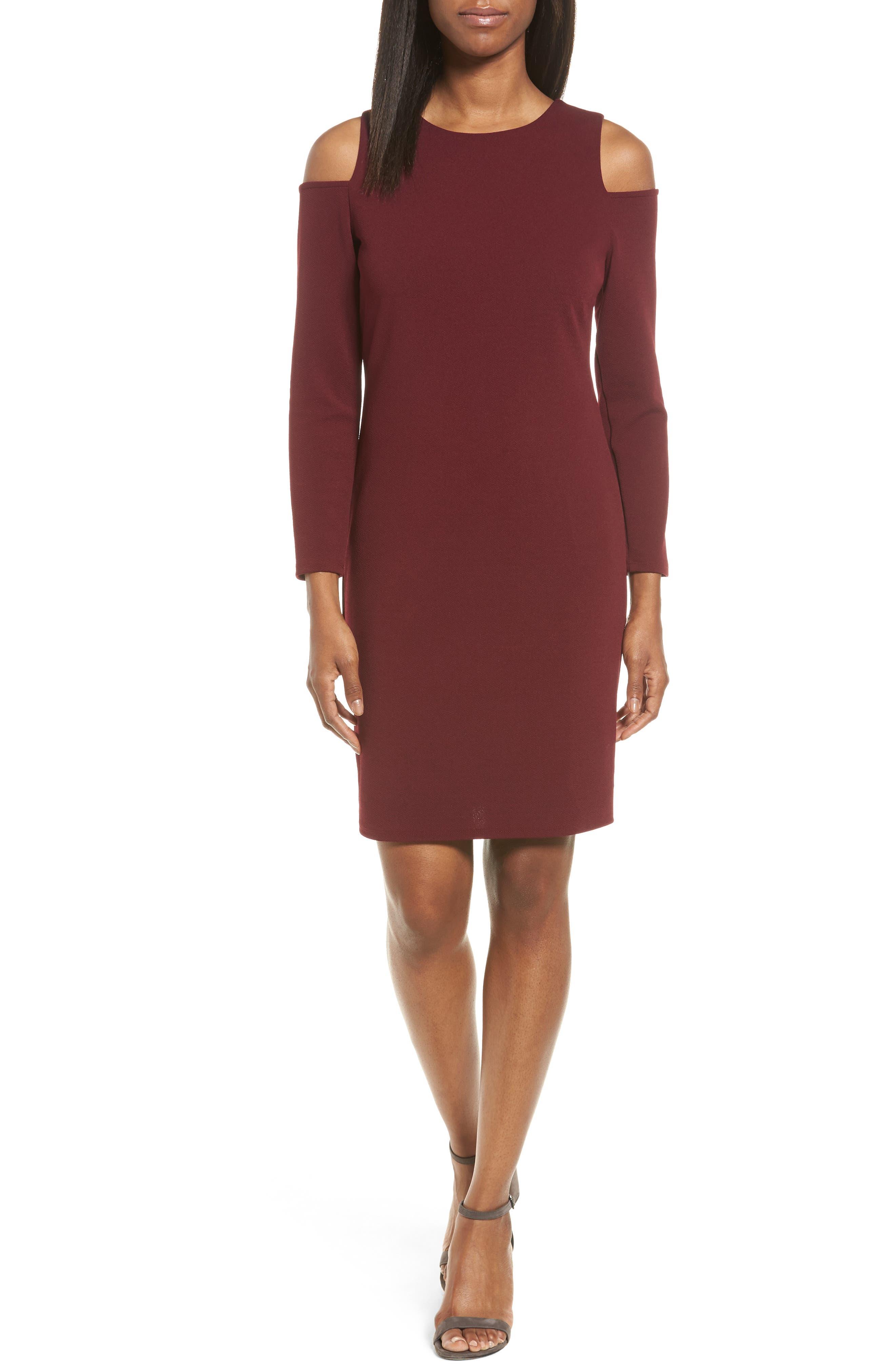 Halogen® Knit Cold Shoulder Dress (Regular & Petite)
