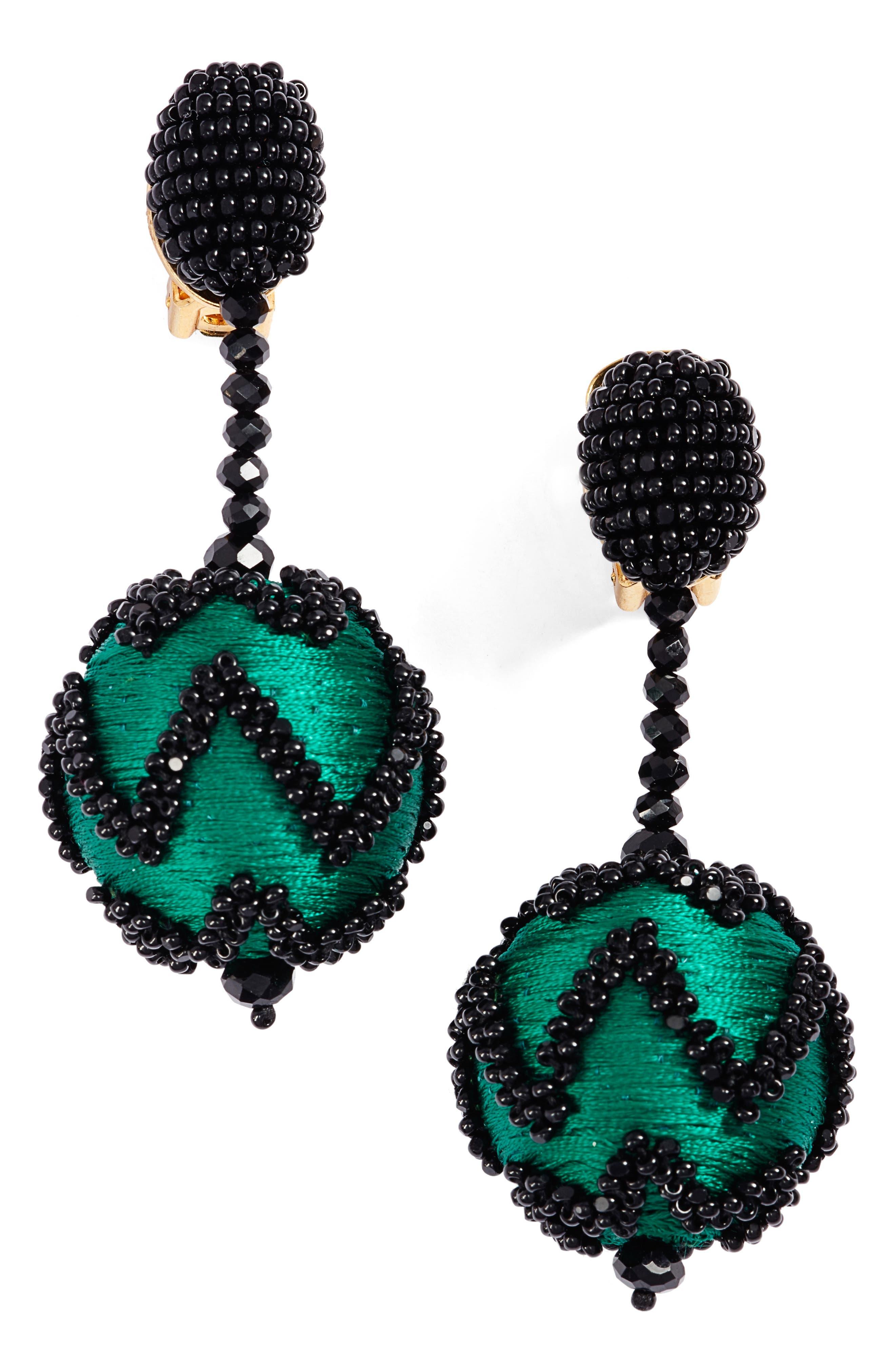Oscar de la Renta Beaded Chevron Ball Earrings