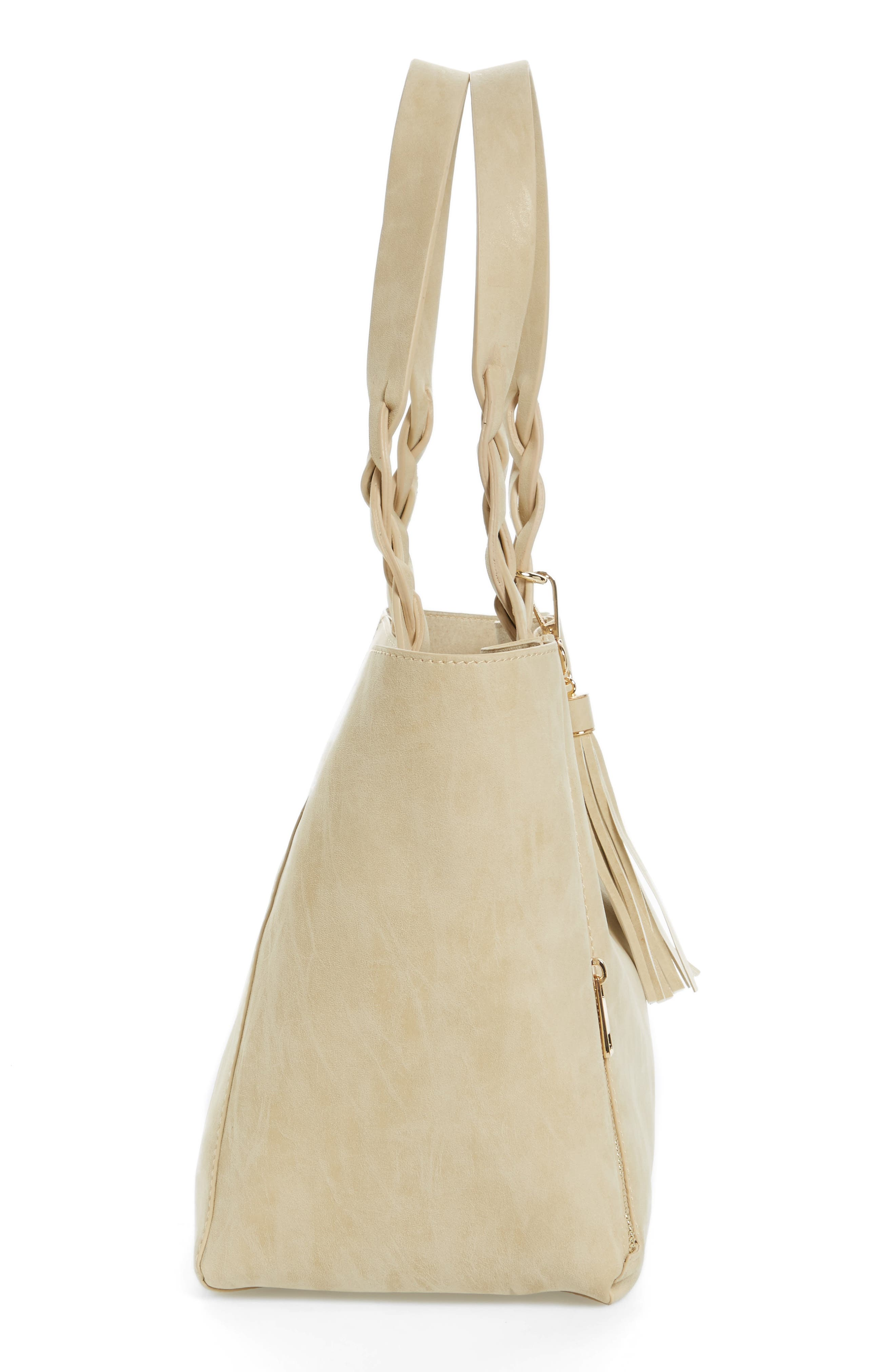 Faux Leather Braided Handle Tote,                             Alternate thumbnail 4, color,                             Beige