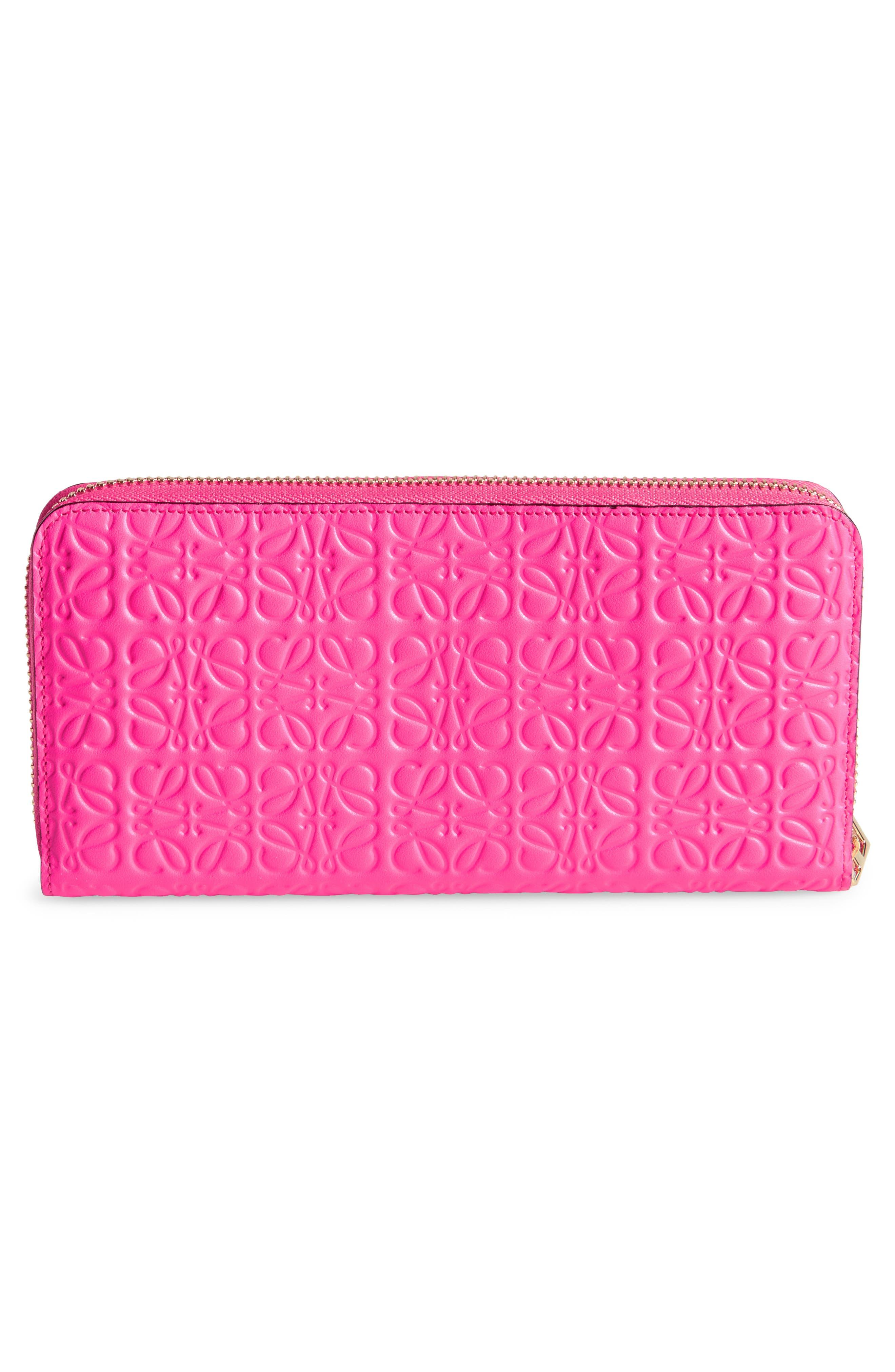 Leather Zip Around Wallet,                             Alternate thumbnail 4, color,                             Shocking Pink