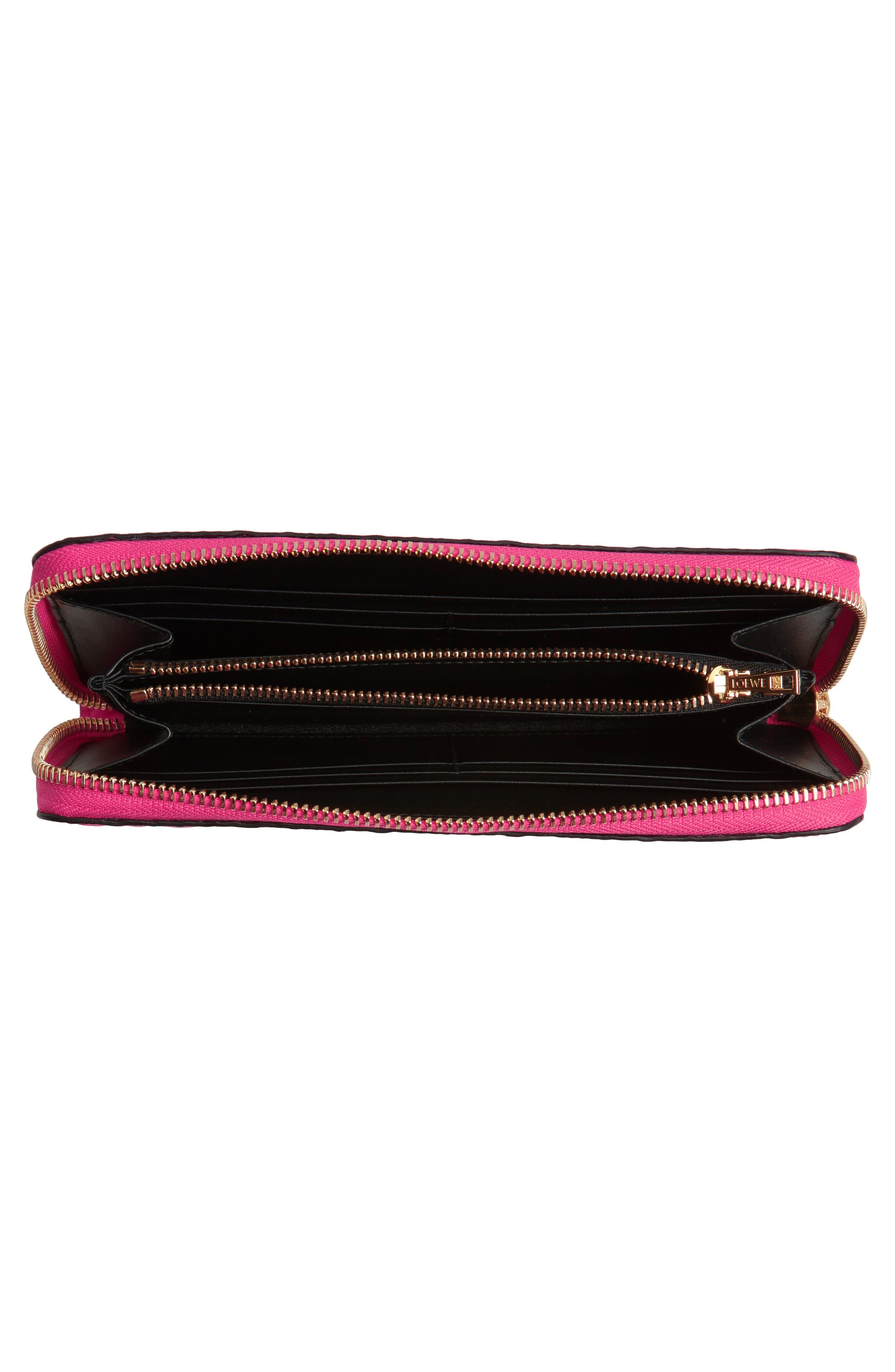 Leather Zip Around Wallet,                             Alternate thumbnail 2, color,                             Shocking Pink
