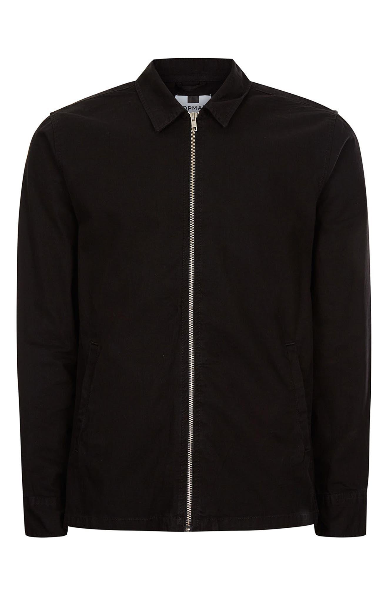 Herringbone Zip Shirt Jacket,                             Alternate thumbnail 5, color,                             Black