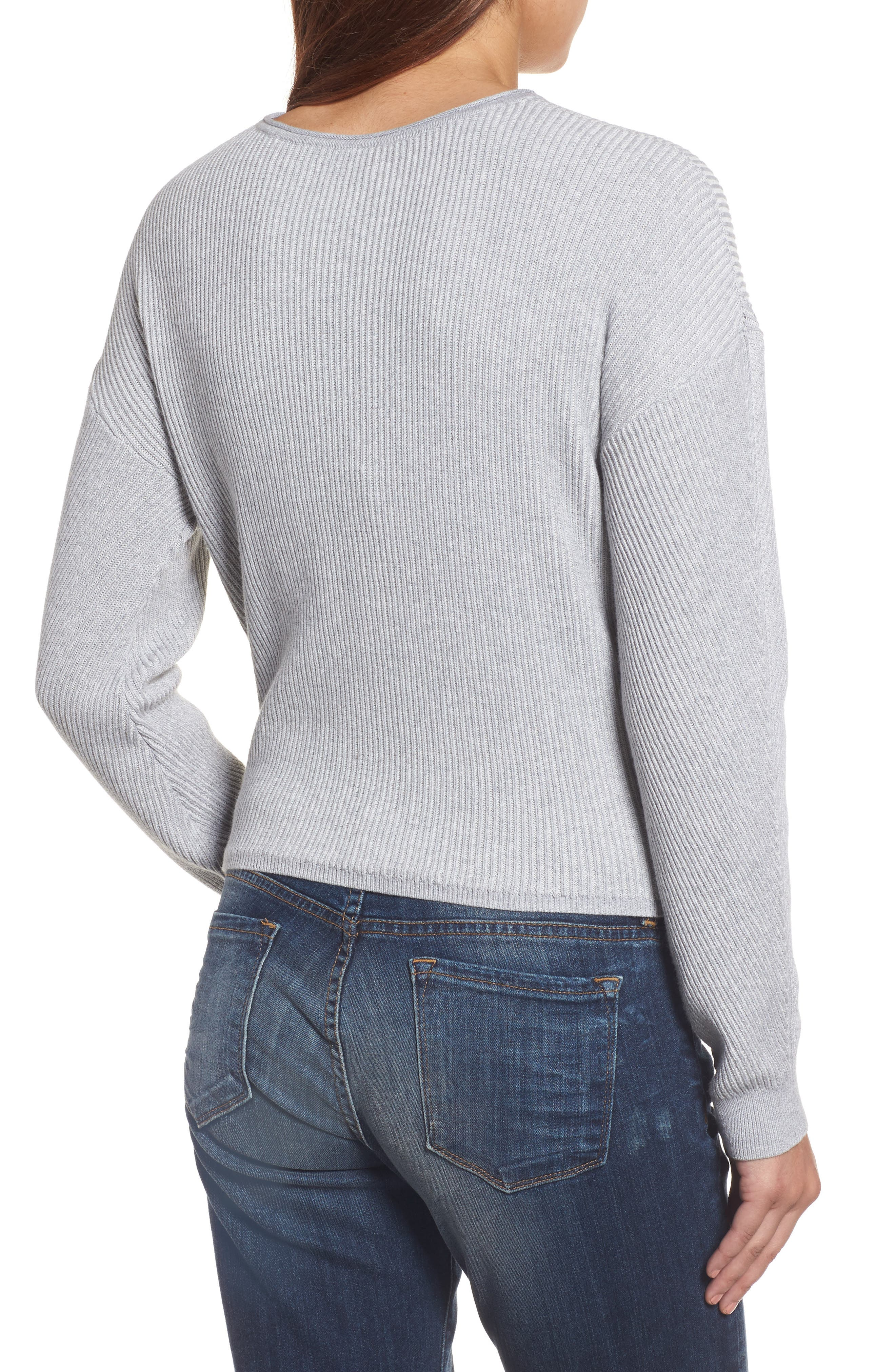 Tie Front Sweater,                             Alternate thumbnail 2, color,                             Heather Grey