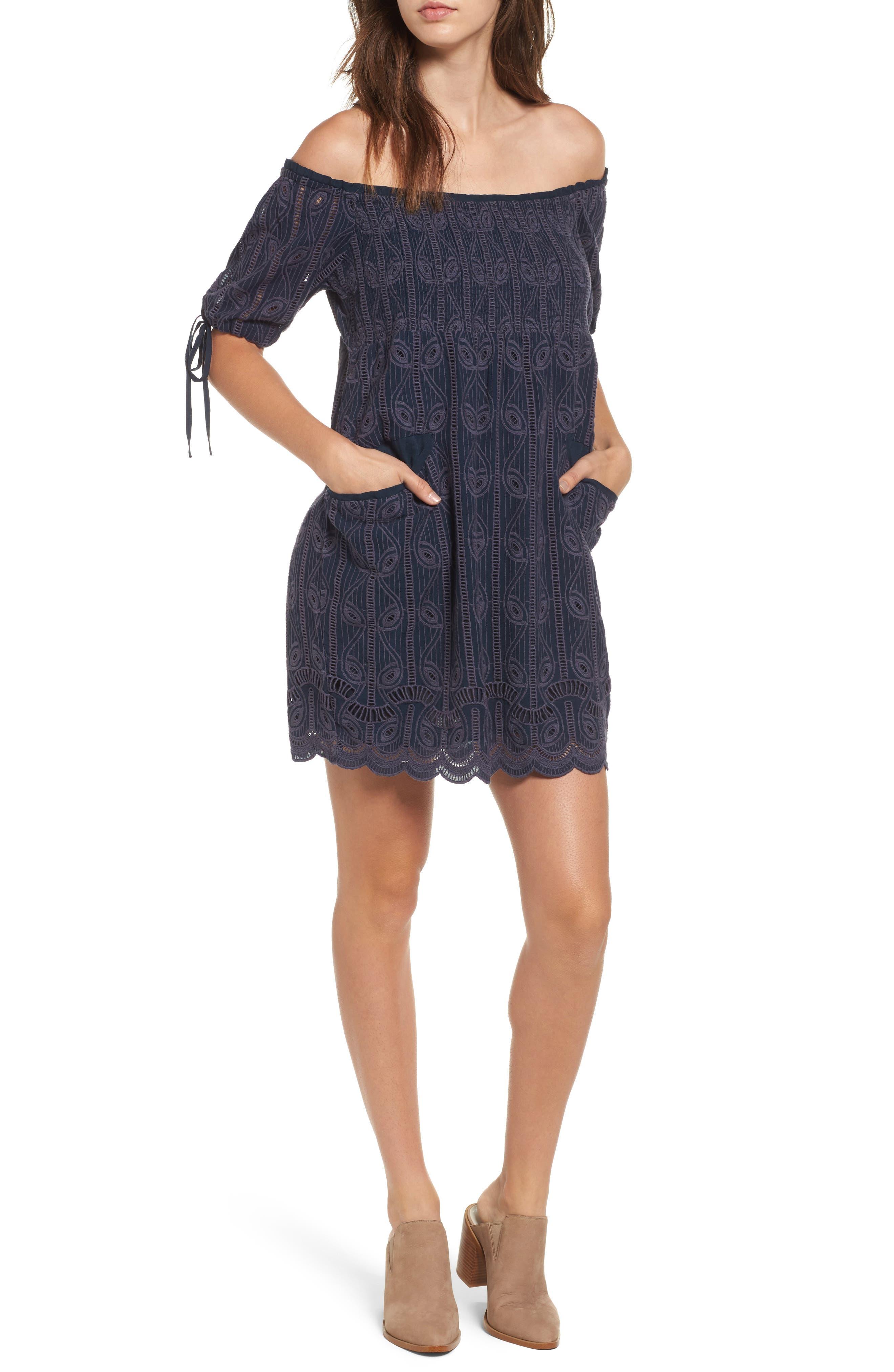 Quinn Off the Shoulder Dress,                         Main,                         color, Armada Stripe