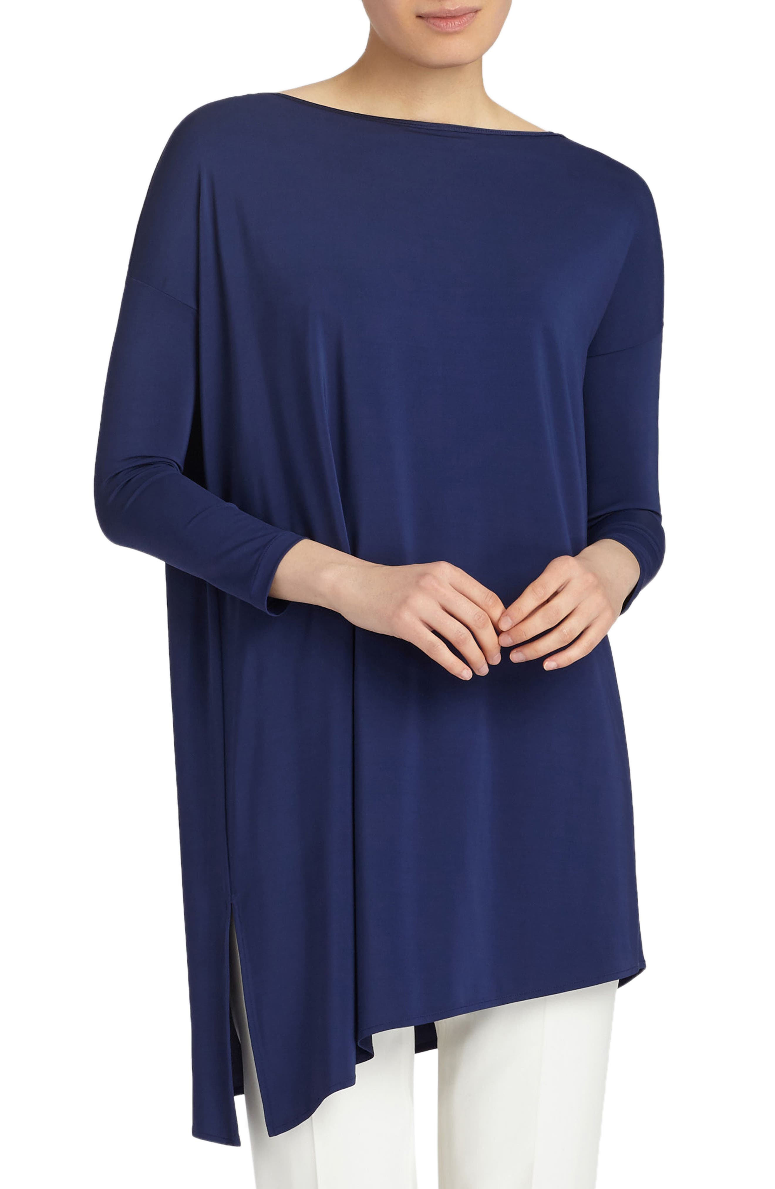 Main Image - Lafayette 148 New York Cultivated Crepe Jersey Asymmetrical Tunic