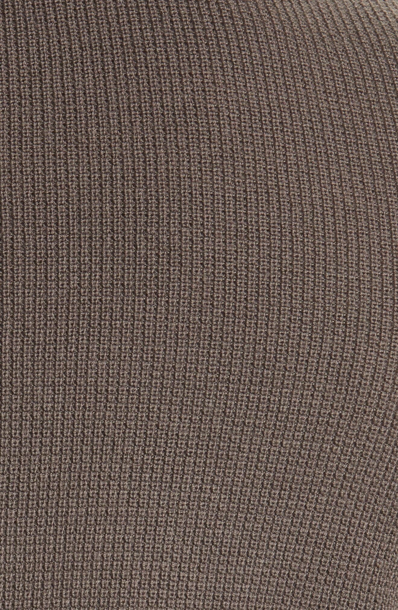 Zack Waffle Knit Wool Henley,                             Alternate thumbnail 5, color,                             Mushroom