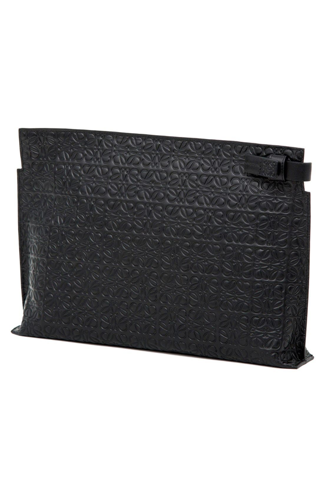 Large Logo Embossed Calfskin Leather Pouch,                             Alternate thumbnail 2, color,                             Black