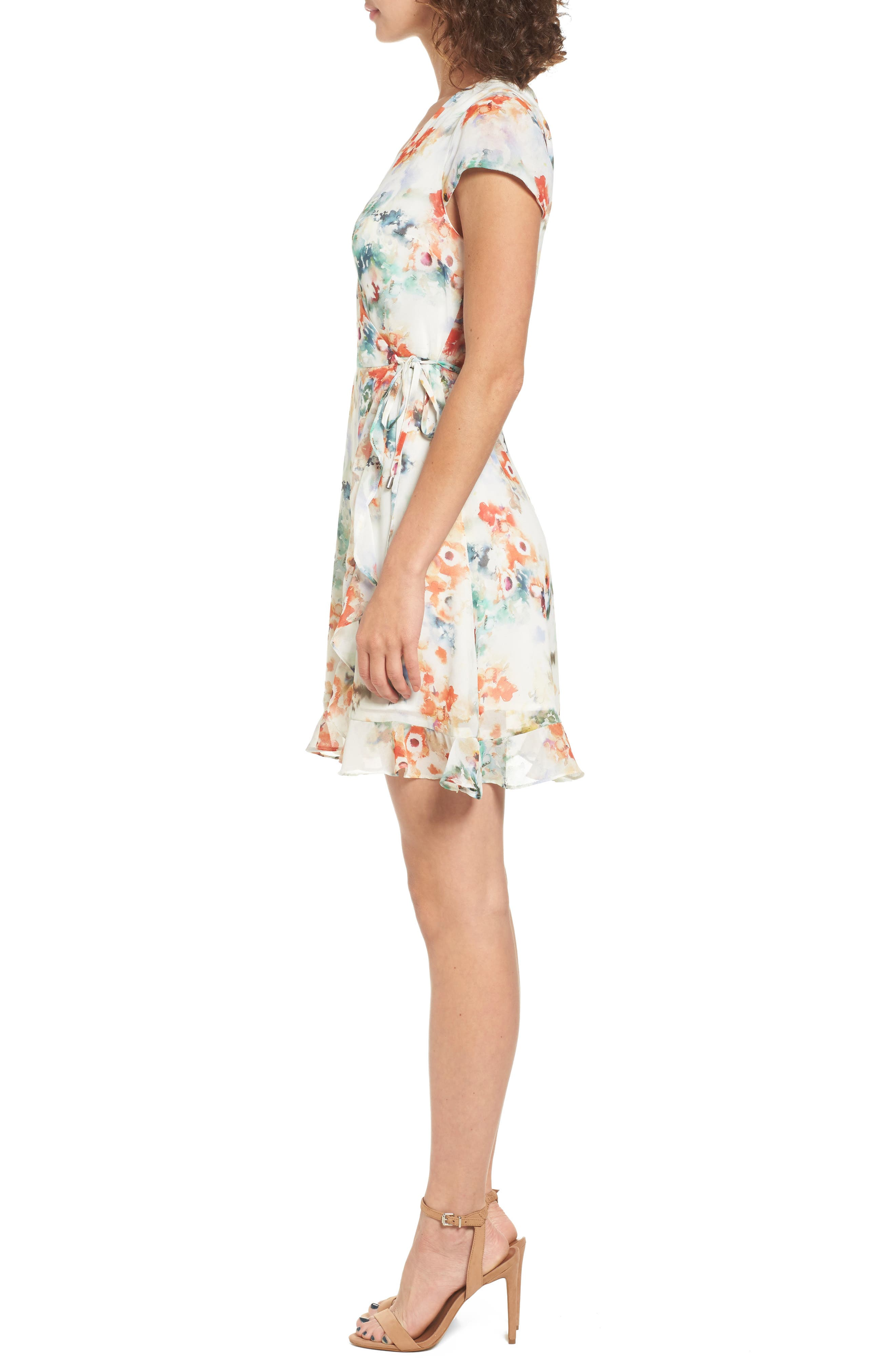 Floral Wrap Dress,                             Alternate thumbnail 3, color,                             Tangerine