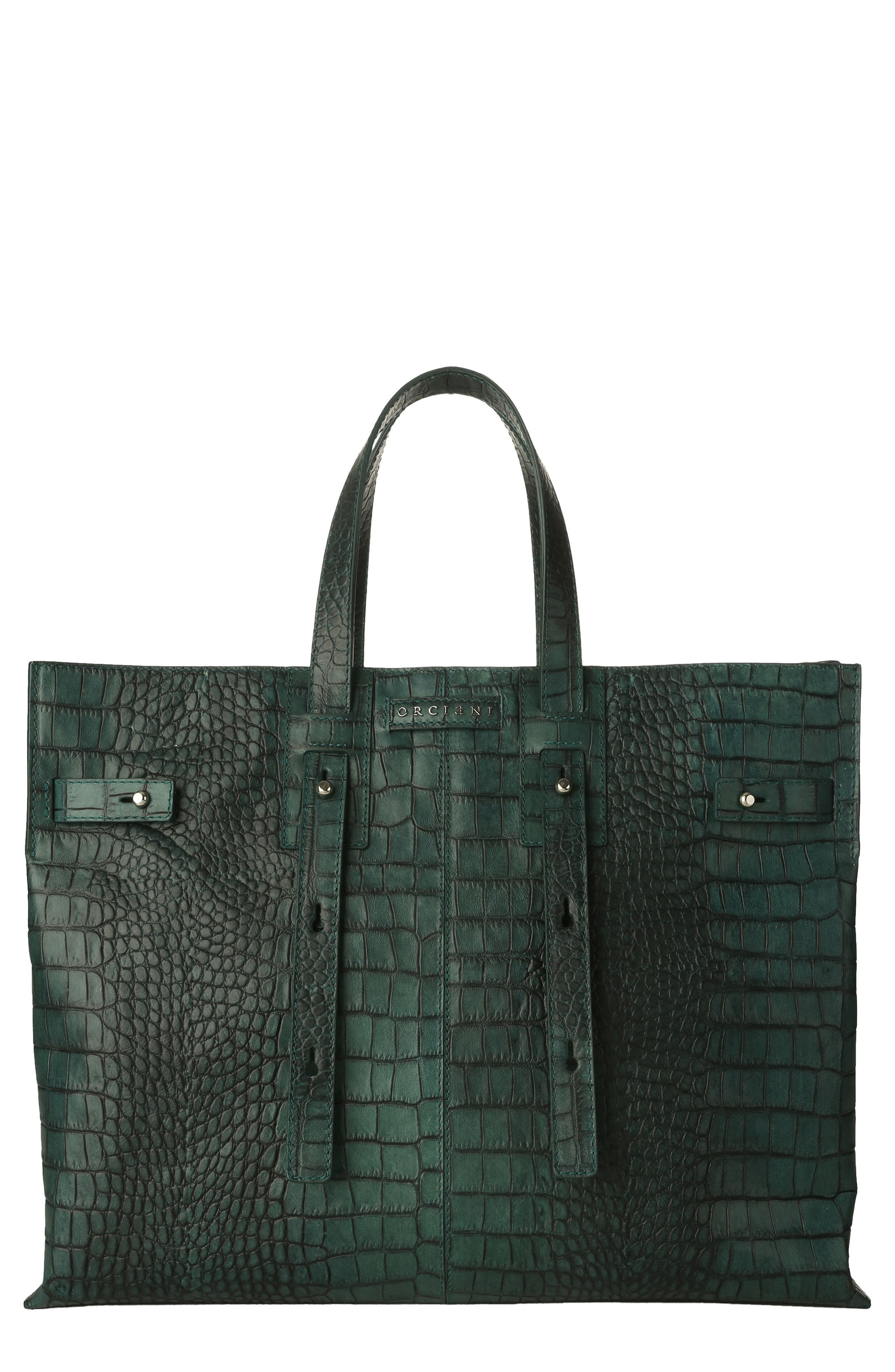 ORCIANI Petra Croc-Embossed Calfskin Leather Tote