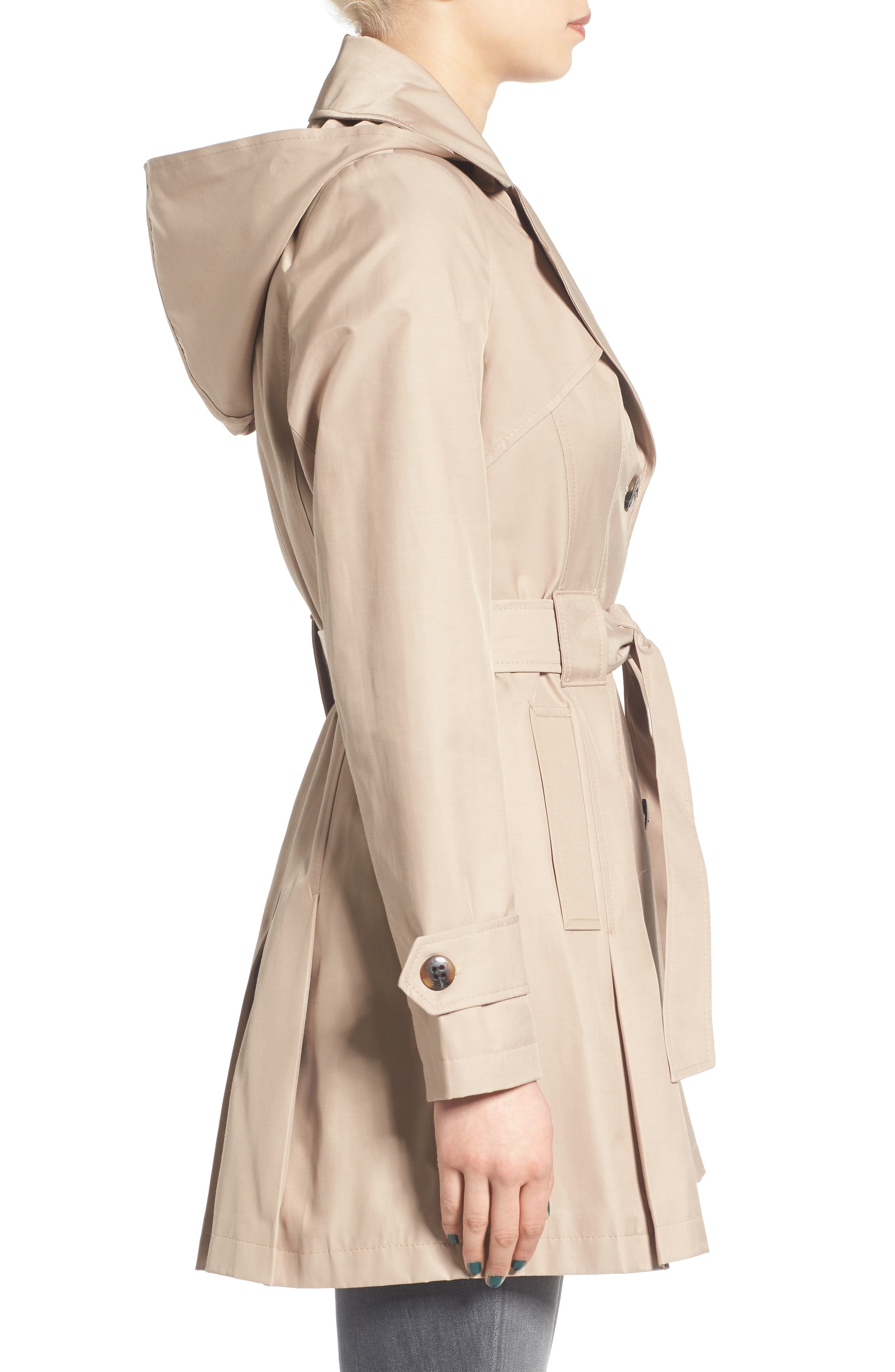 'Scarpa' Hooded Single Breasted Trench Coat,                             Alternate thumbnail 3, color,                             Sand
