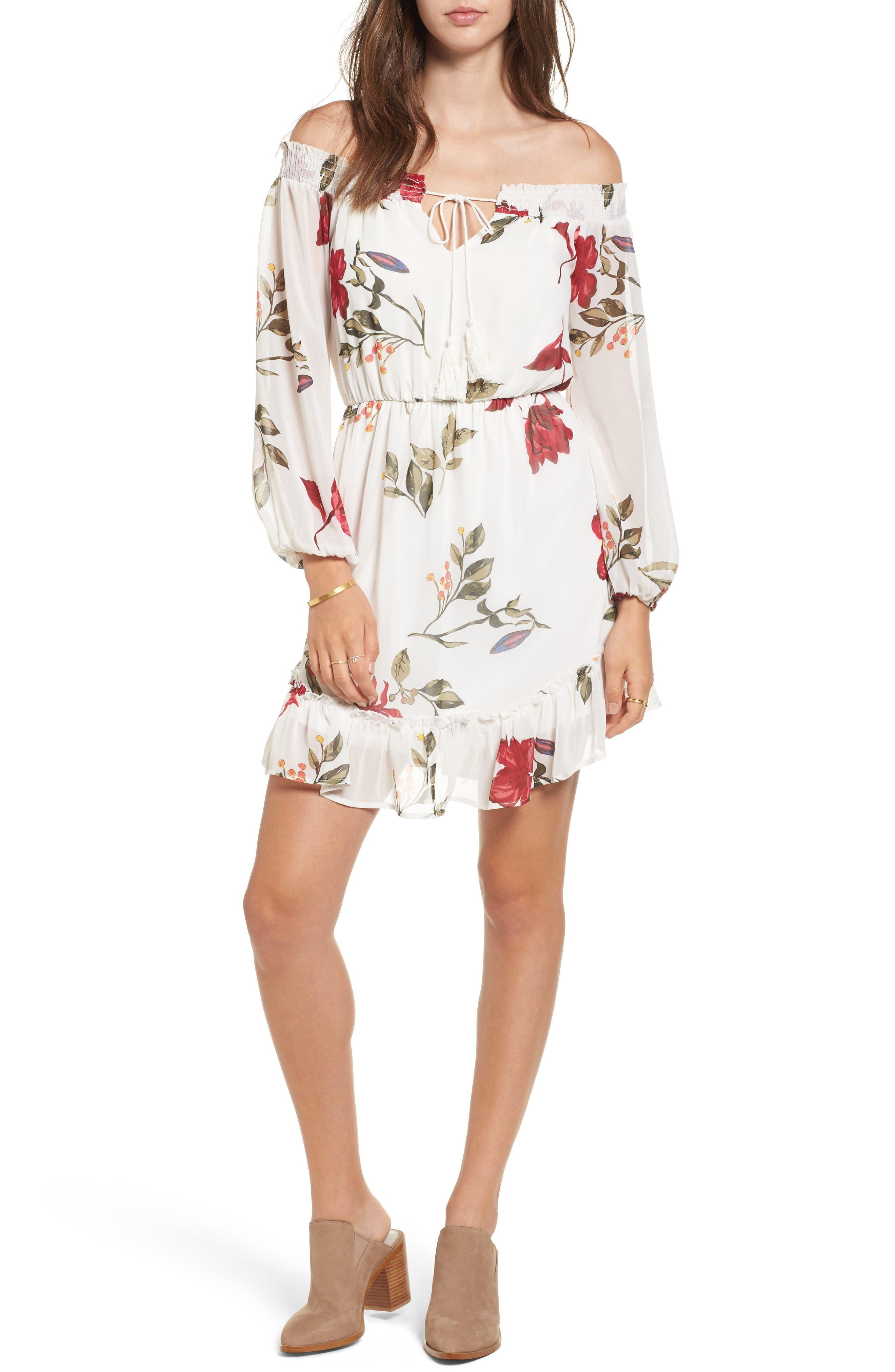 Floral Off the Shoulder Dress,                         Main,                         color, Ivory Floral