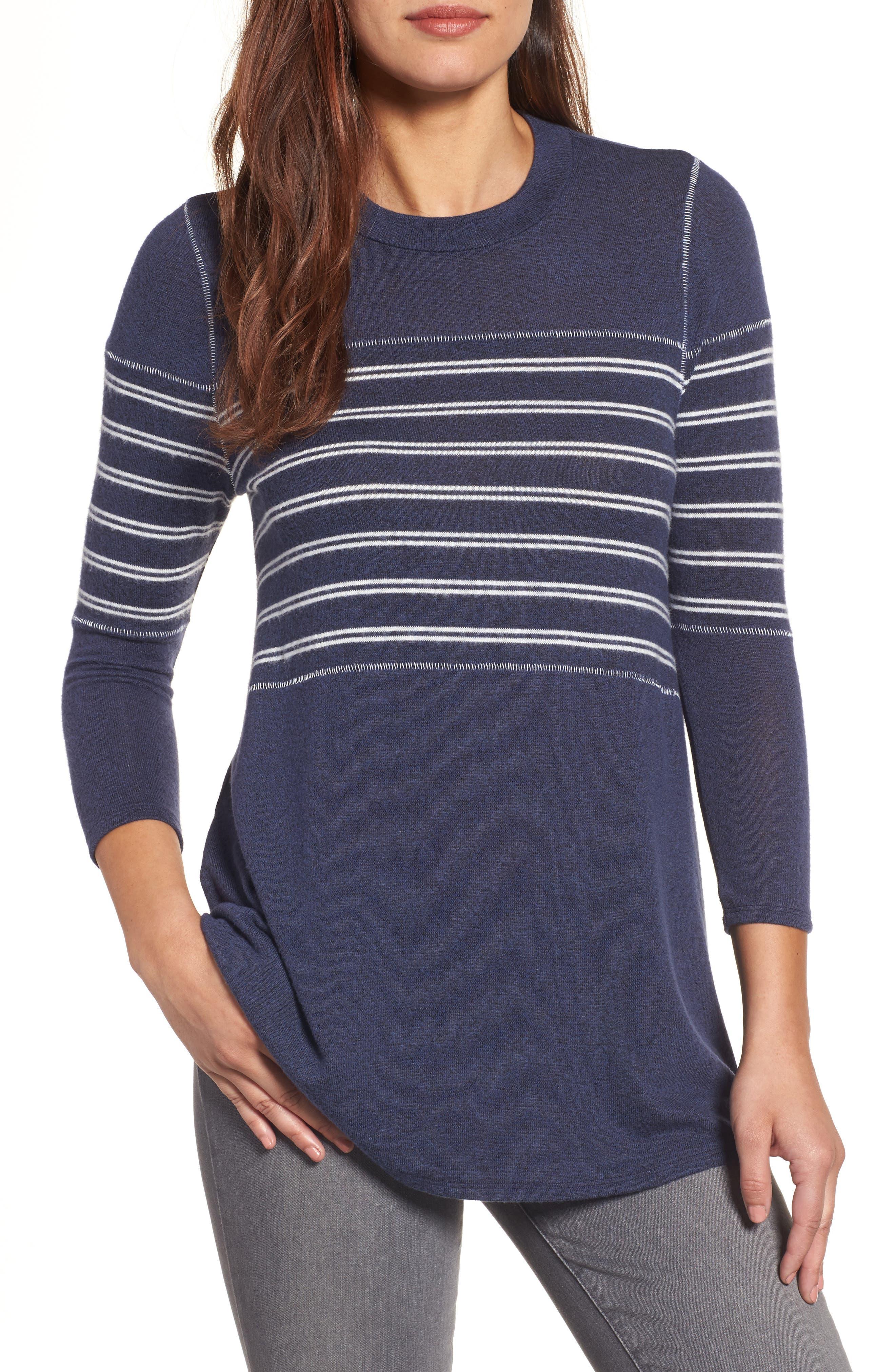 Caslon® Stripe Panel Sweater