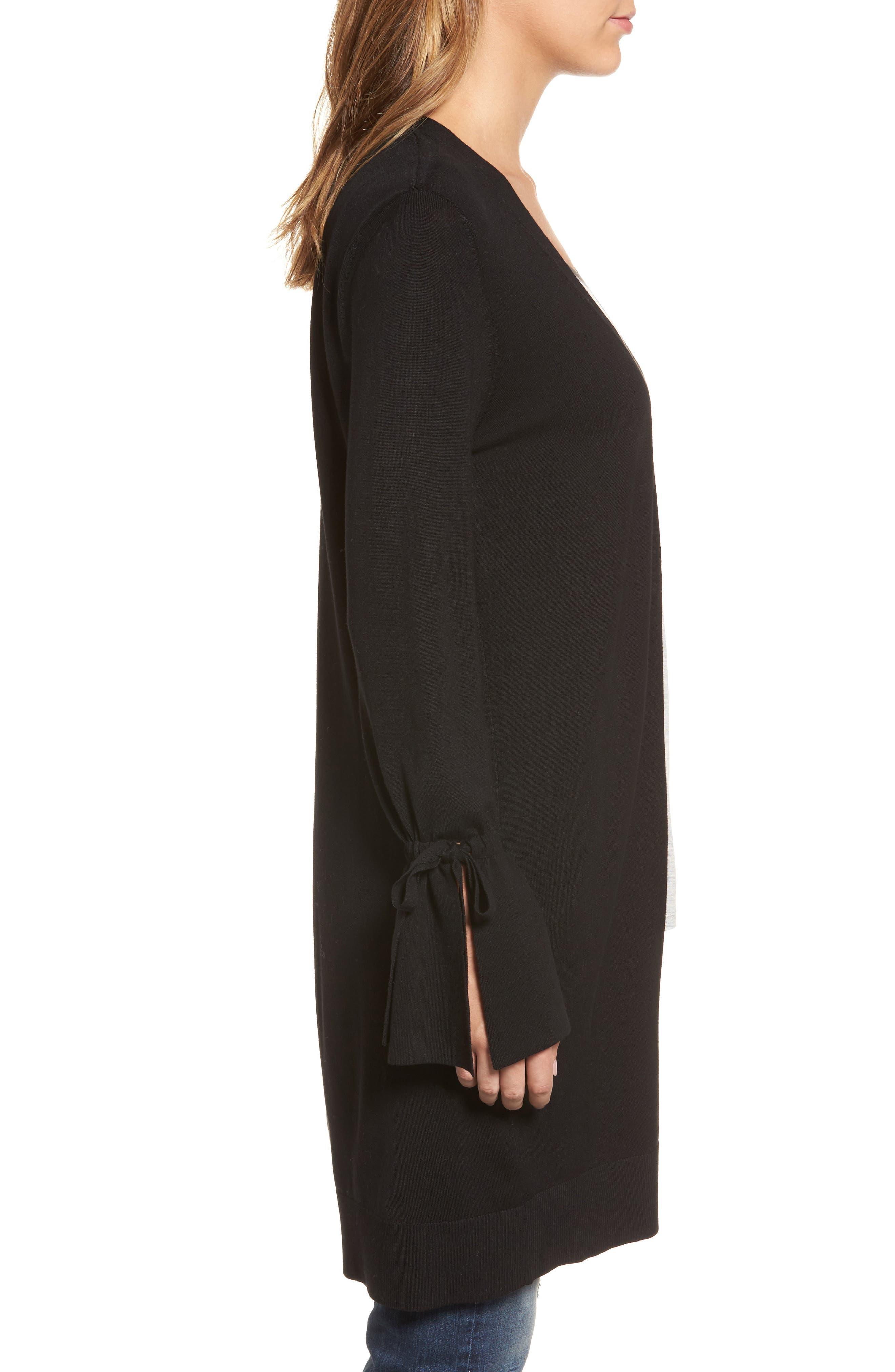 Alternate Image 3  - Halogen® Lightweight Tie Sleeve Cardigan (Regular & Petite)