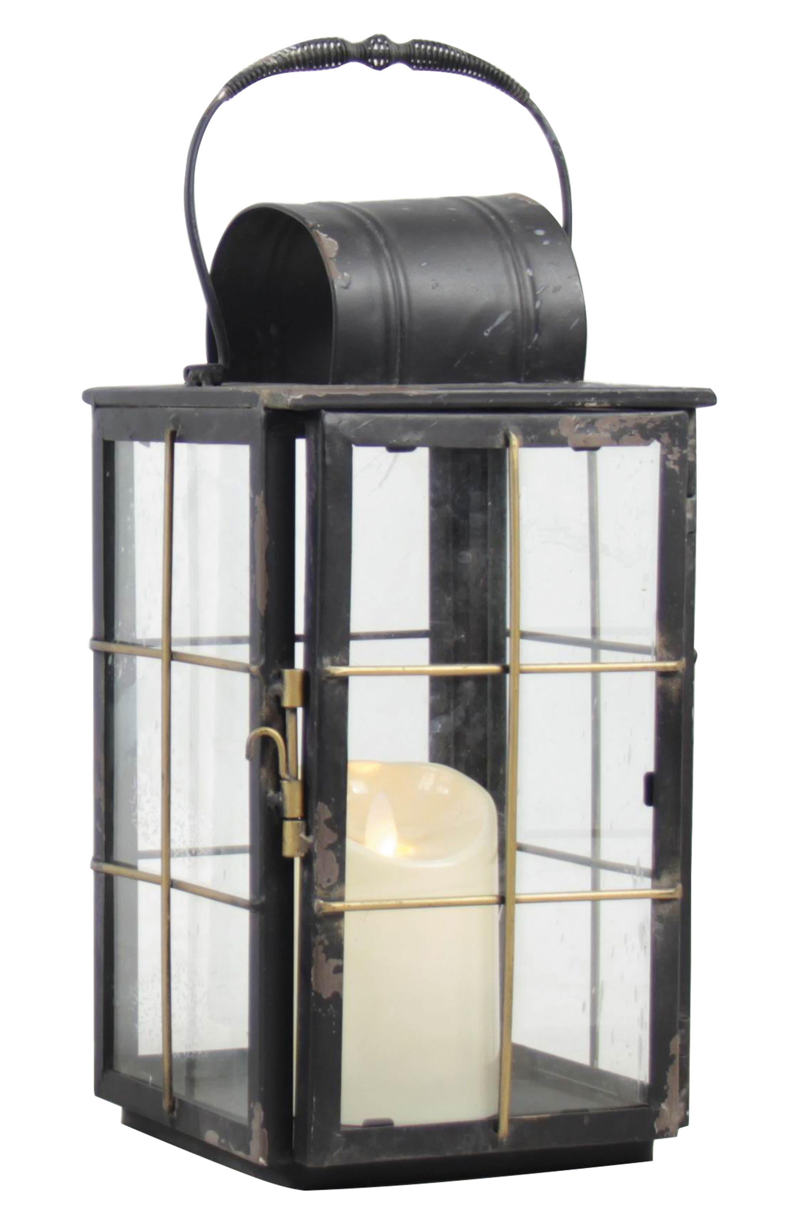 Small Holiday Cottage Metal Lantern,                         Main,                         color, Black