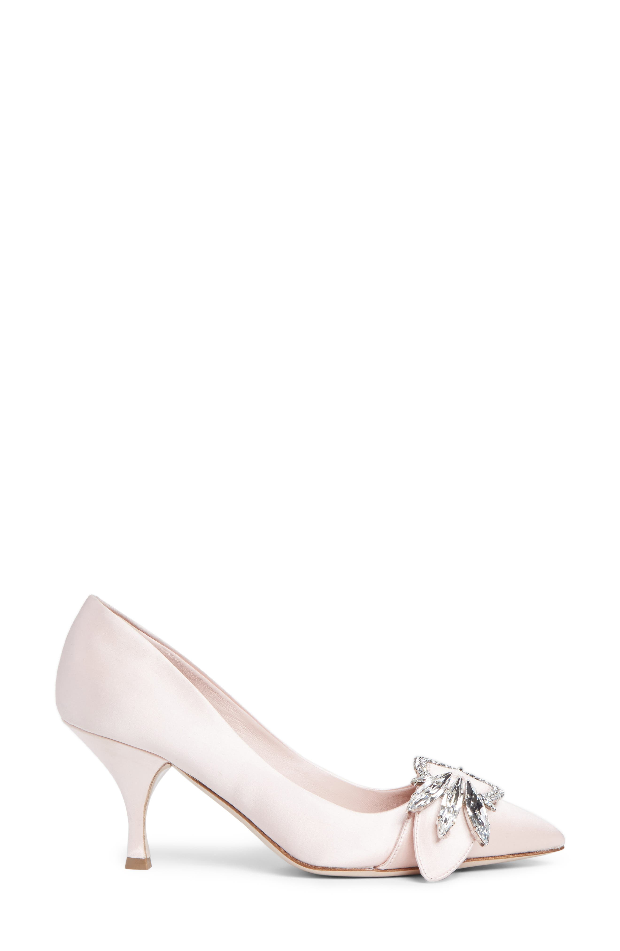 Crystal Buckle Pump,                             Alternate thumbnail 3, color,                             Pink Satin
