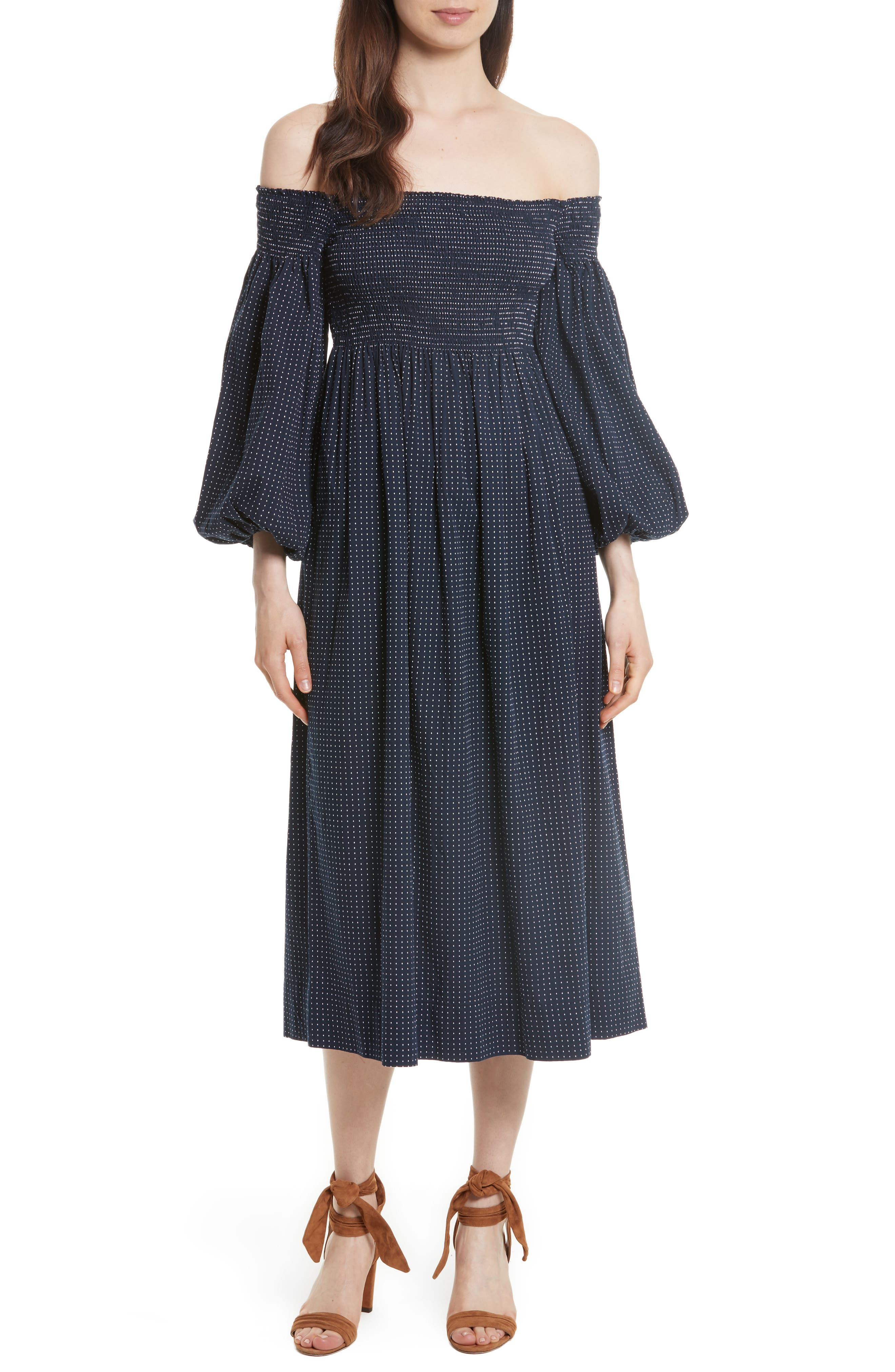 The Carnival Bishop Sleeve Dress,                         Main,                         color, Navy/ White Dobby