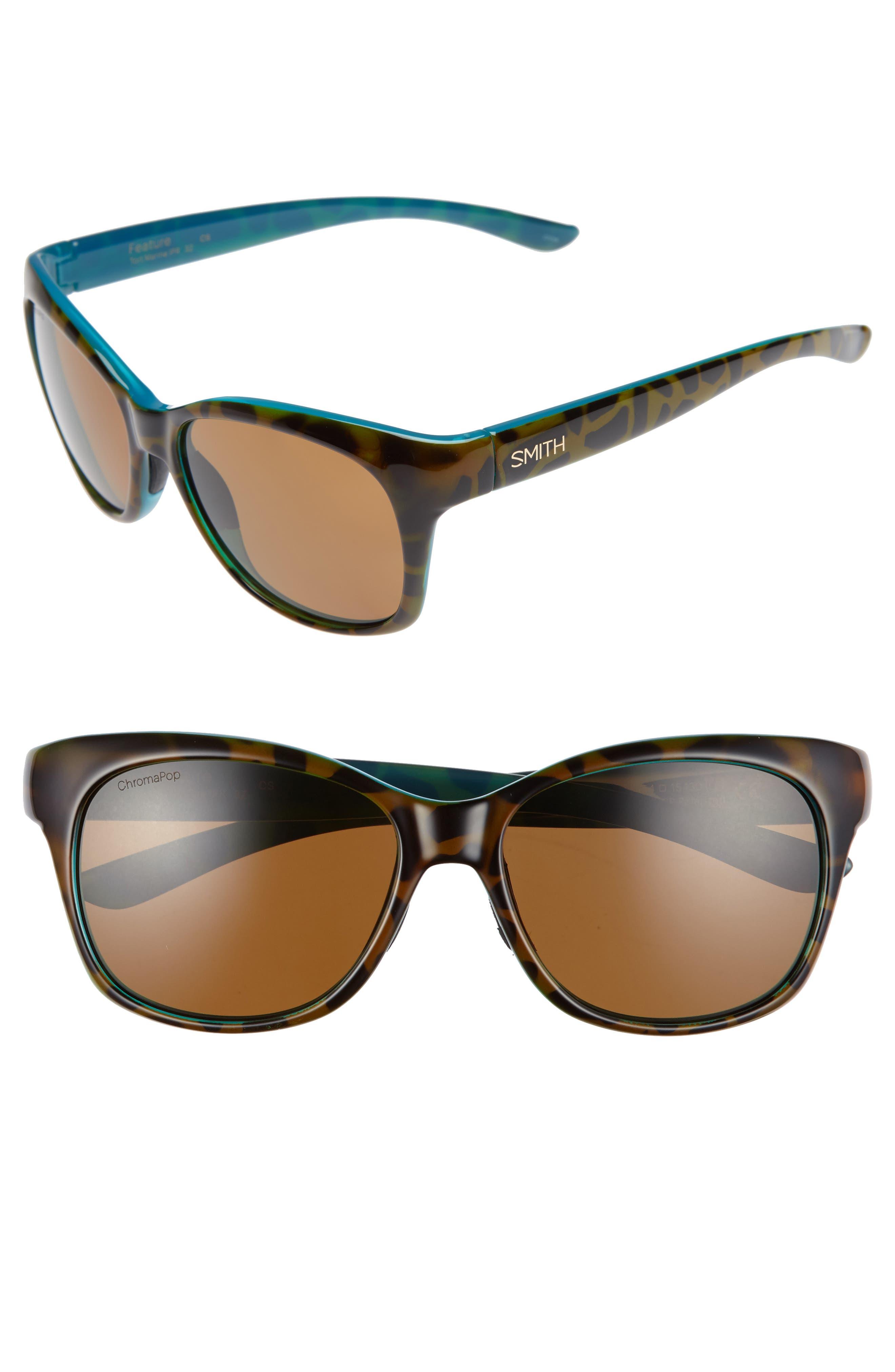Feature ChromaPop 54mm Polarized Sunglasses,                         Main,                         color, Tortoise Marine