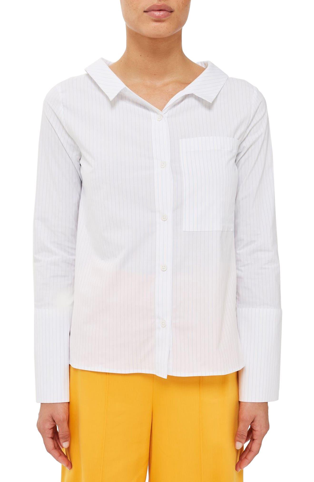 Topshop Boutique Tie Back Stripe Shirt