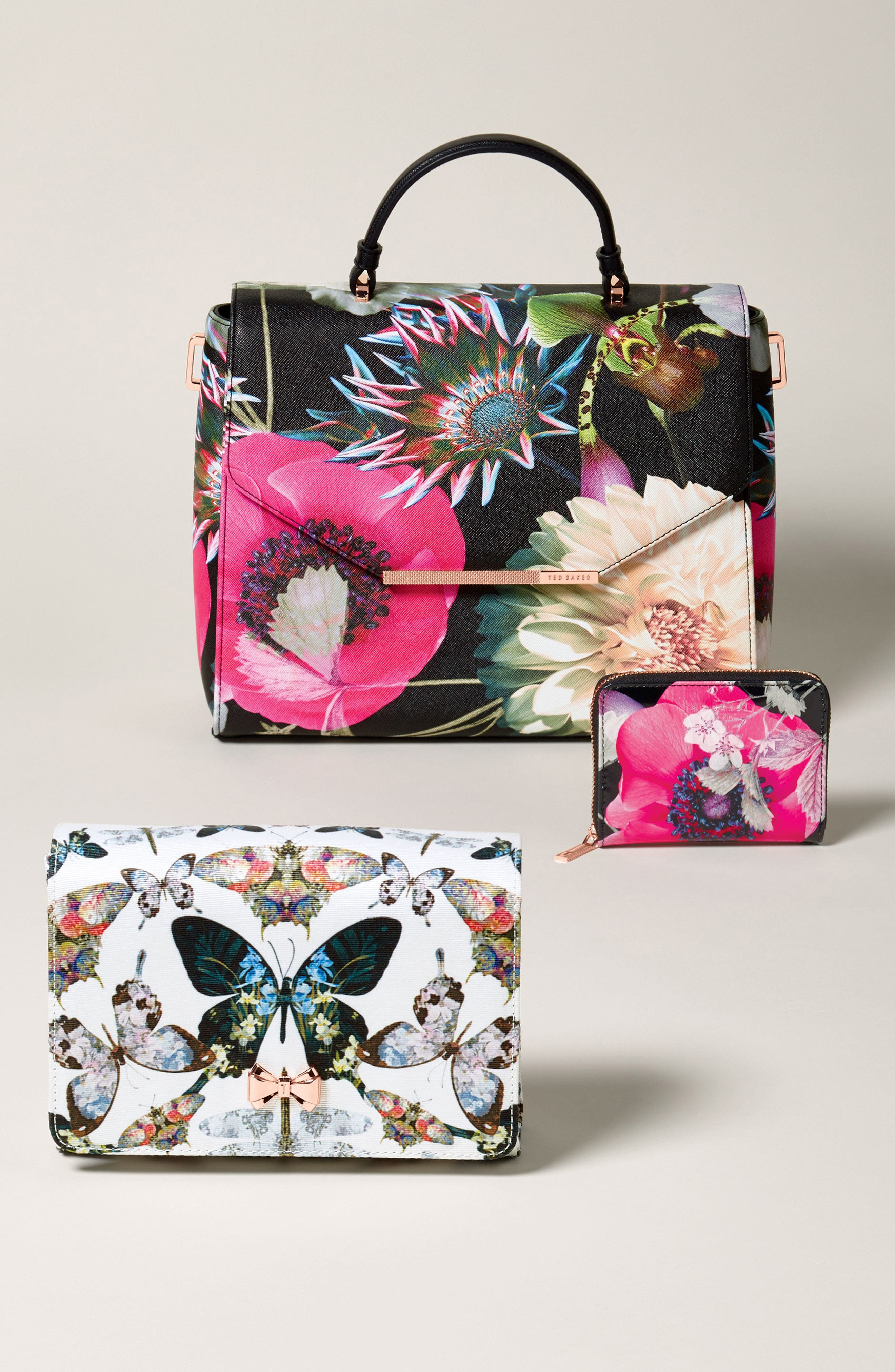 Strisa Butterfly Print Clutch,                             Alternate thumbnail 7, color,