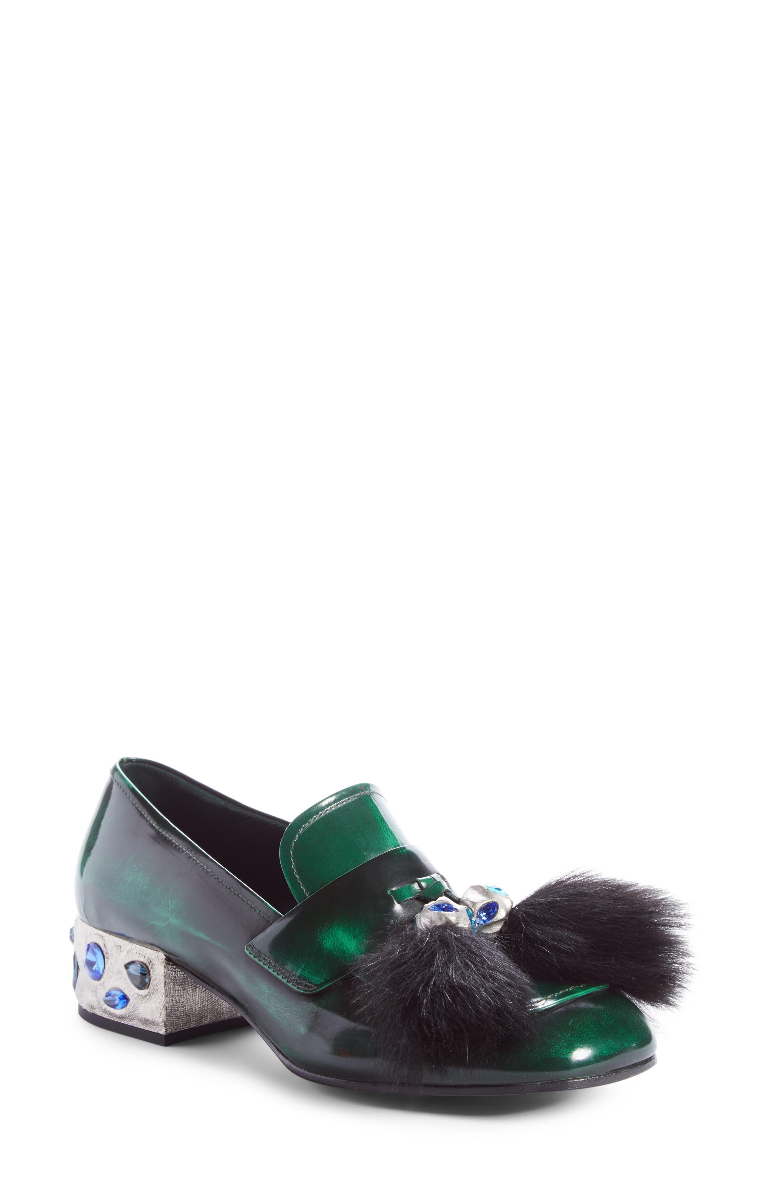 Prada Genuine Shearling Tassel Loafer (Women)
