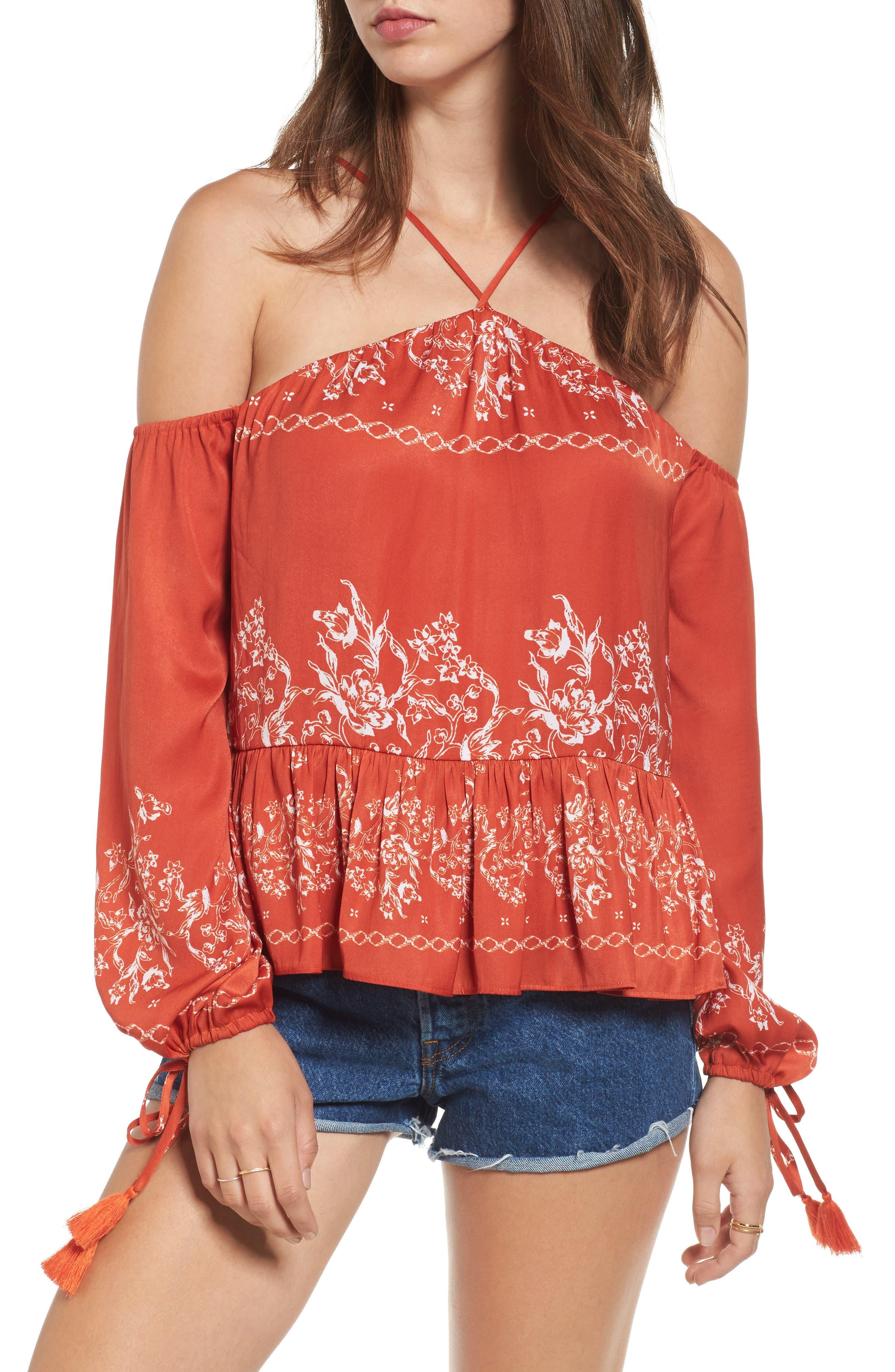 Syrah Floral Print Cold Shoulder Top,                         Main,                         color, Red Floral Stripe