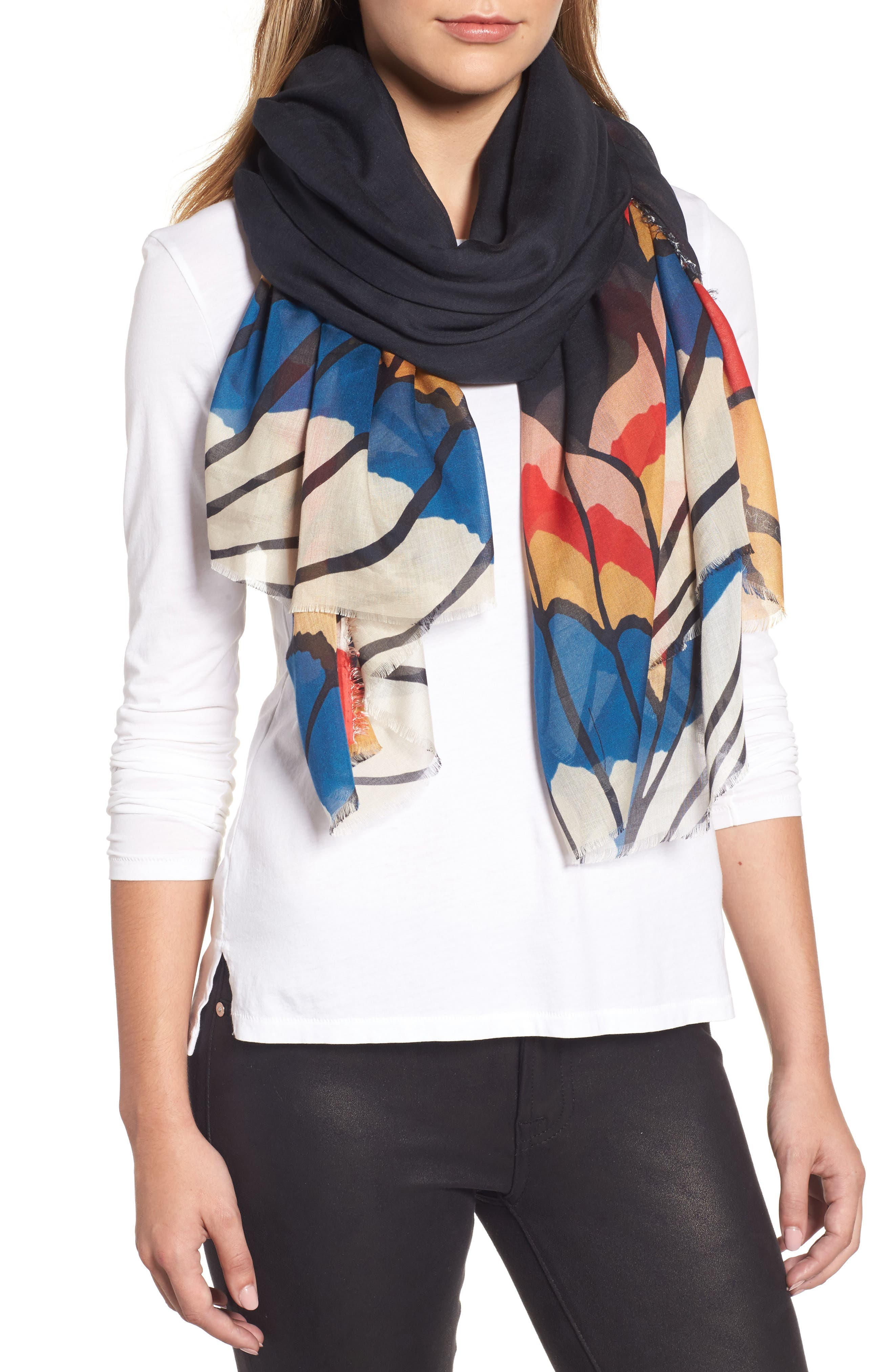 Abstract Print Scarf,                         Main,                         color, Black
