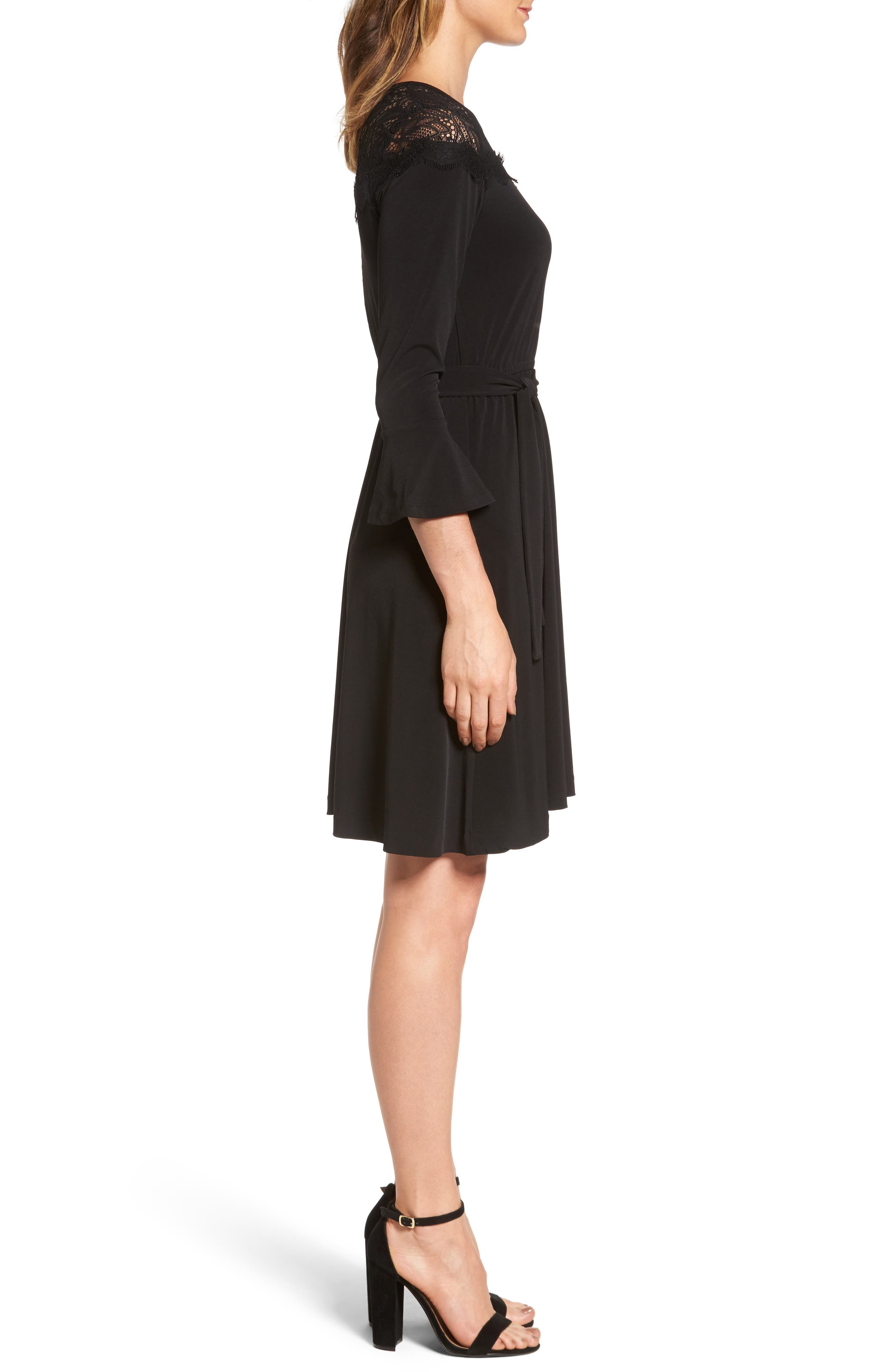 Flounce Sleeve Lace Dress,                             Alternate thumbnail 3, color,                             Black