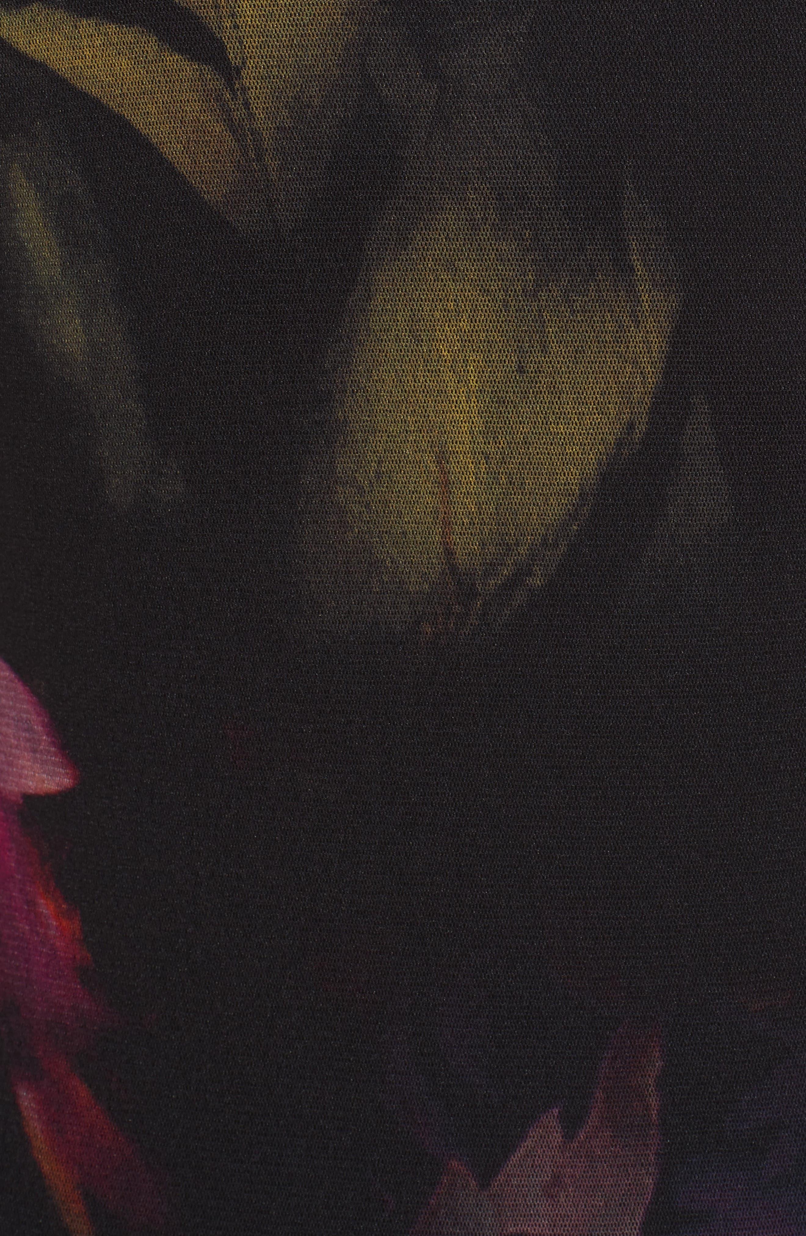 Alternate Image 5  - Fuzzi Floral Print Tulle Drop Waist Midi Dress