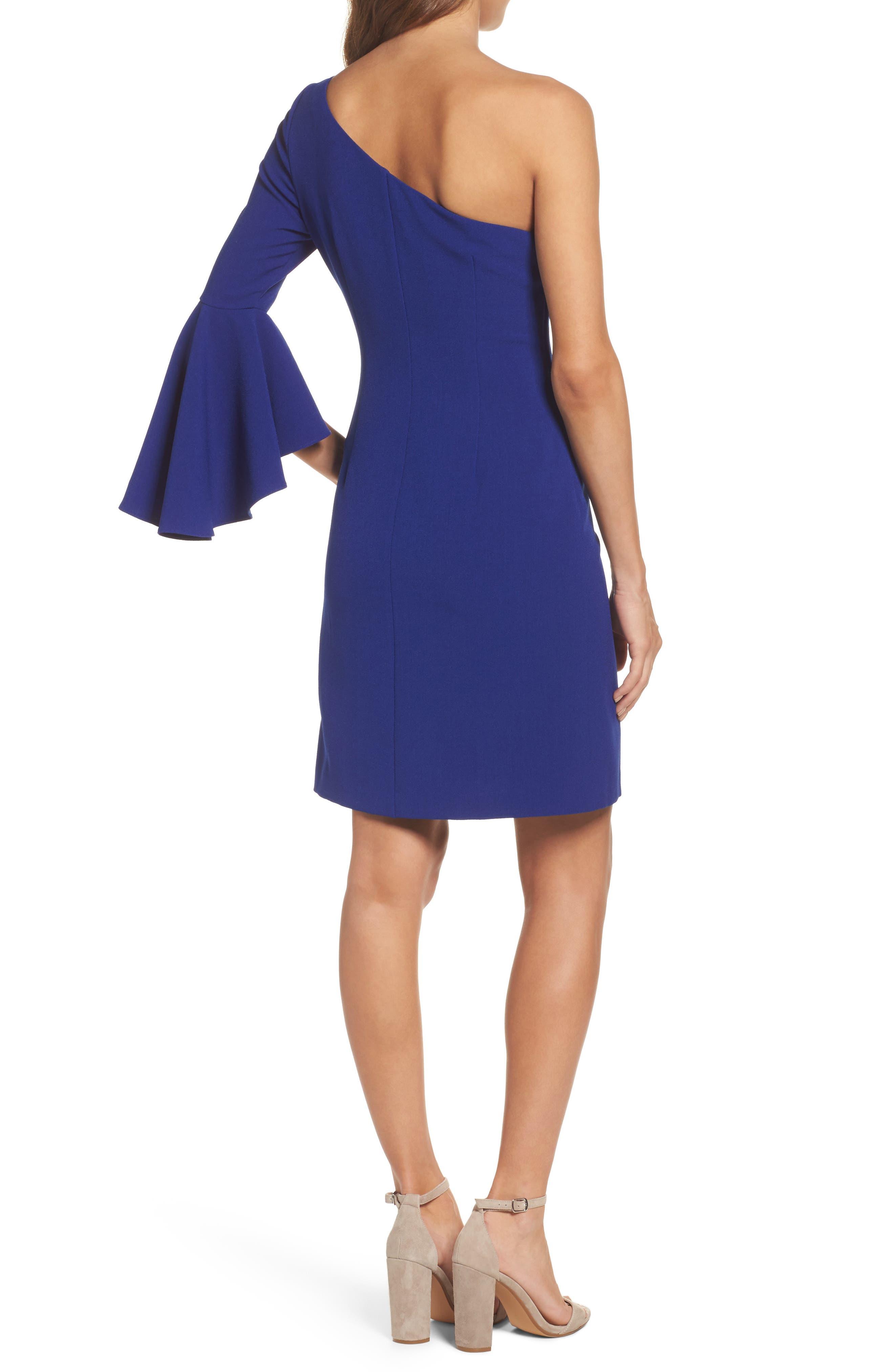 One-Shoulder Crepe Sheath Dress,                             Alternate thumbnail 2, color,                             Blue Cobalt