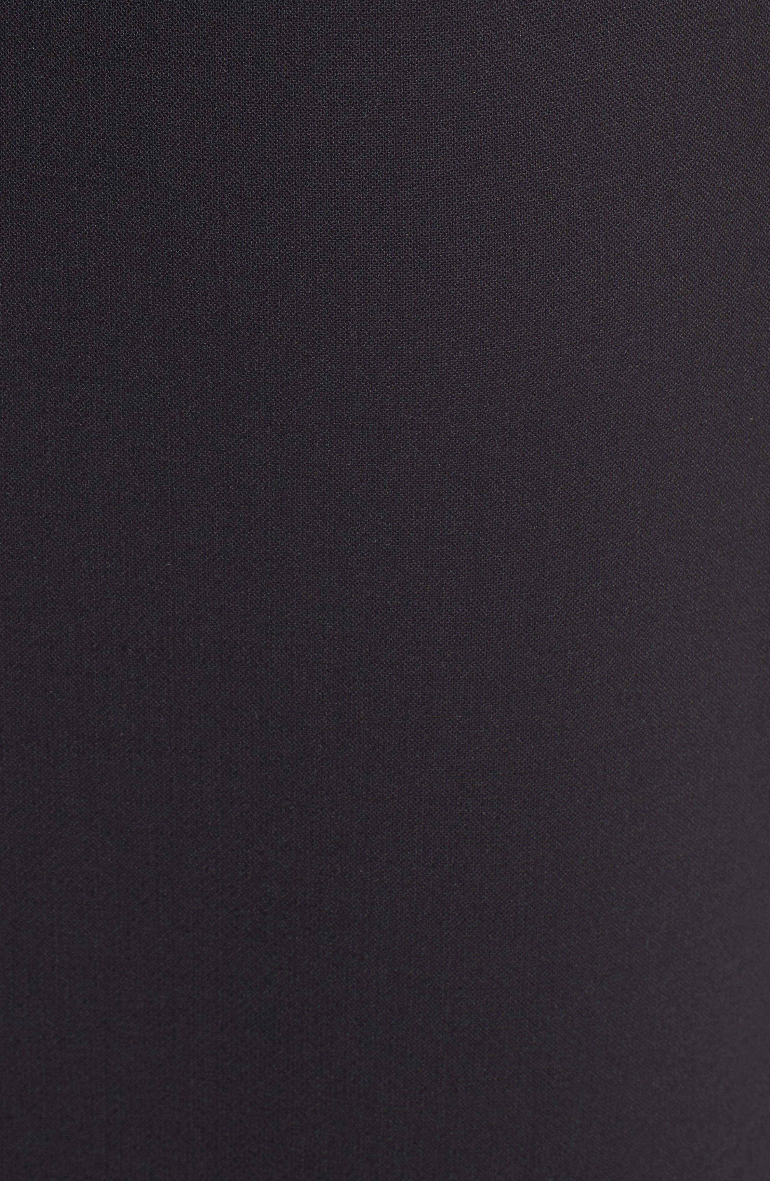 Corset Detail Stretch Wool Sheath Dress,                             Alternate thumbnail 5, color,                             Black