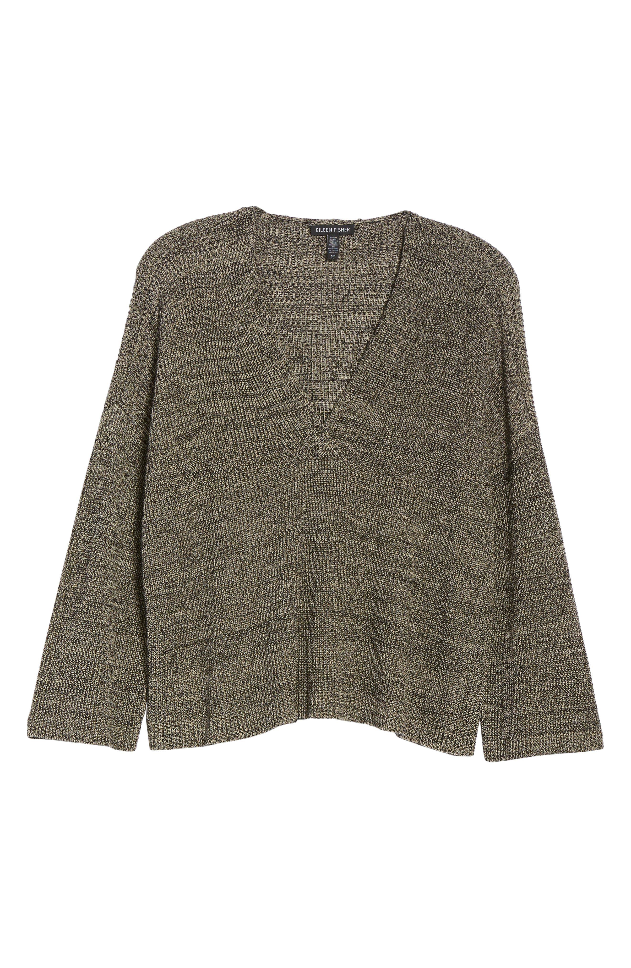 Mélange Knit Tencel<sup>®</sup> Crop Sweater,                             Alternate thumbnail 6, color,                             Black Natural
