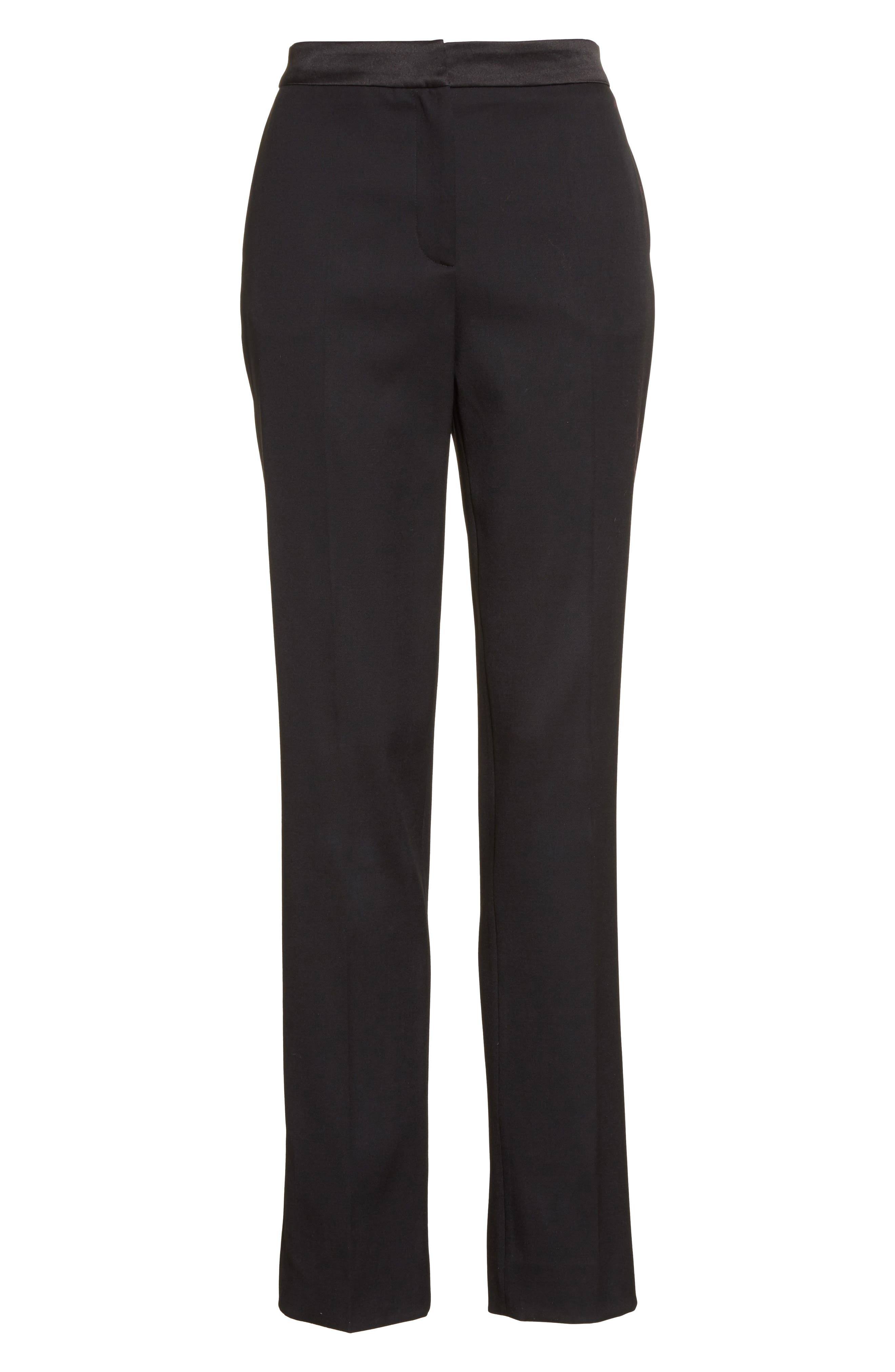 Alternate Image 6  - Oscar de la Renta Satin Trim Stretch Wool Gabardine Pants
