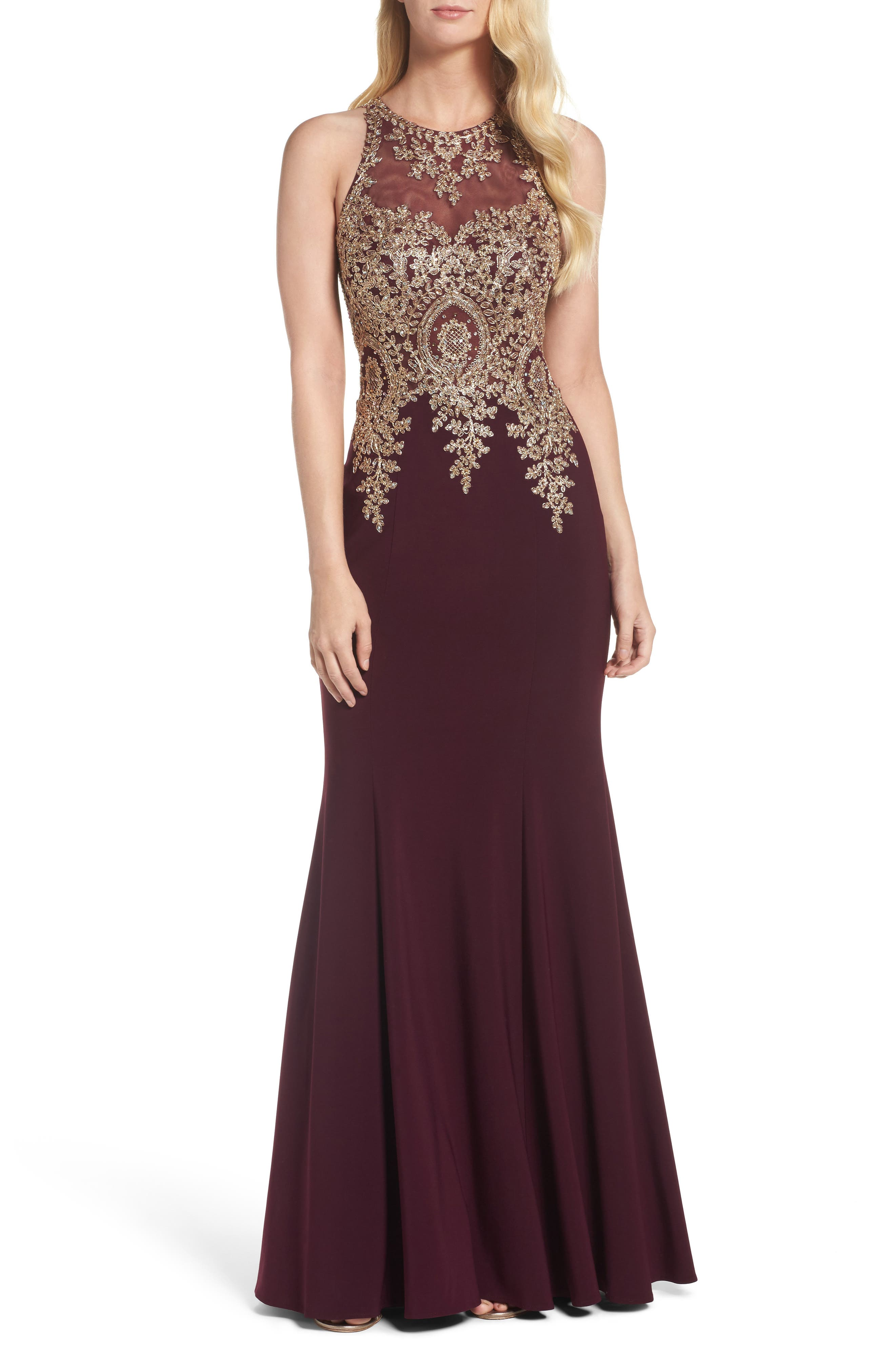 Embroidered Mermaid Gown,                             Main thumbnail 1, color,                             Wine/ Gold