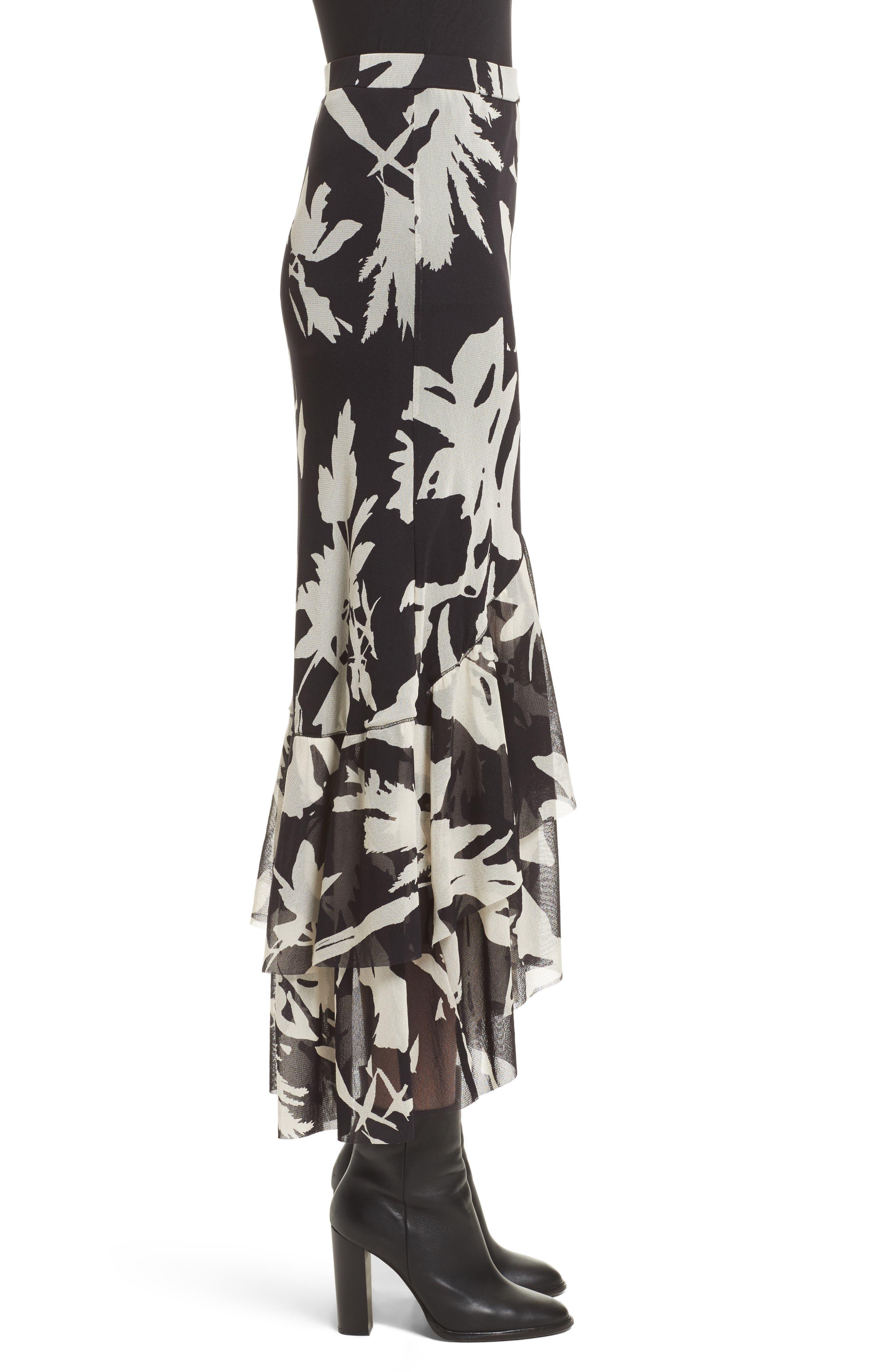 Floral Print Tulle Ruffle Skirt,                             Alternate thumbnail 5, color,                             Black/ White
