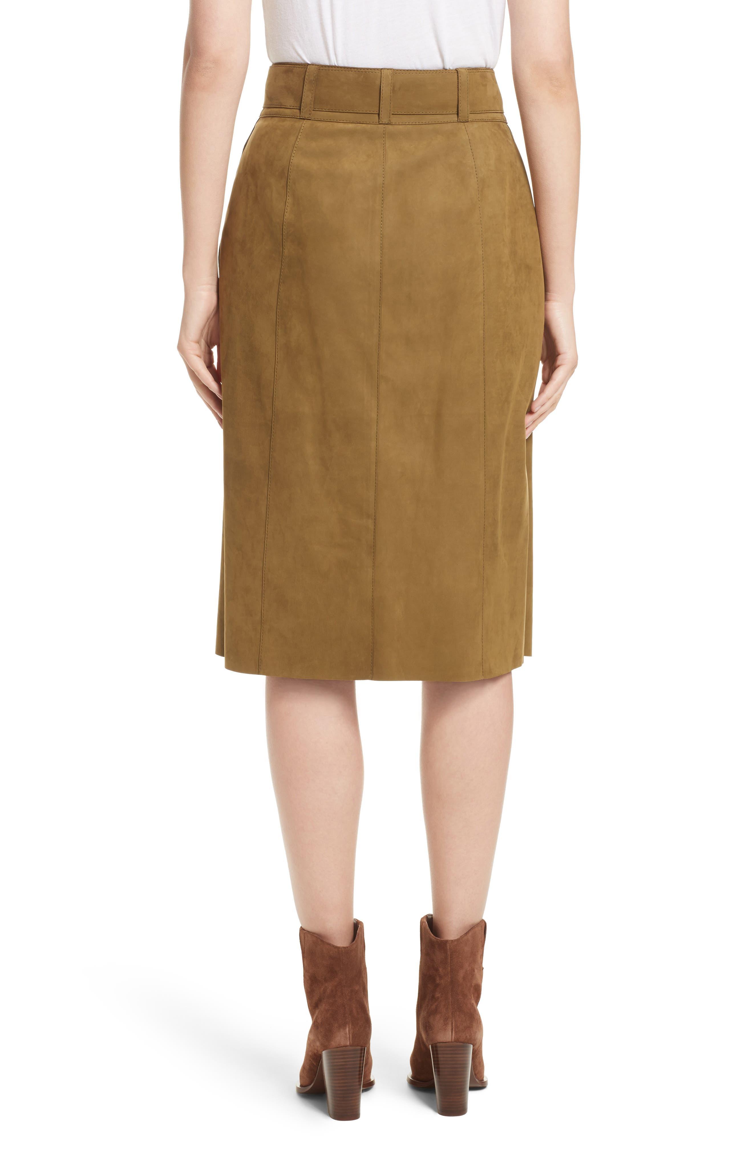 Orla Leather Skirt,                             Alternate thumbnail 2, color,                             Kelp