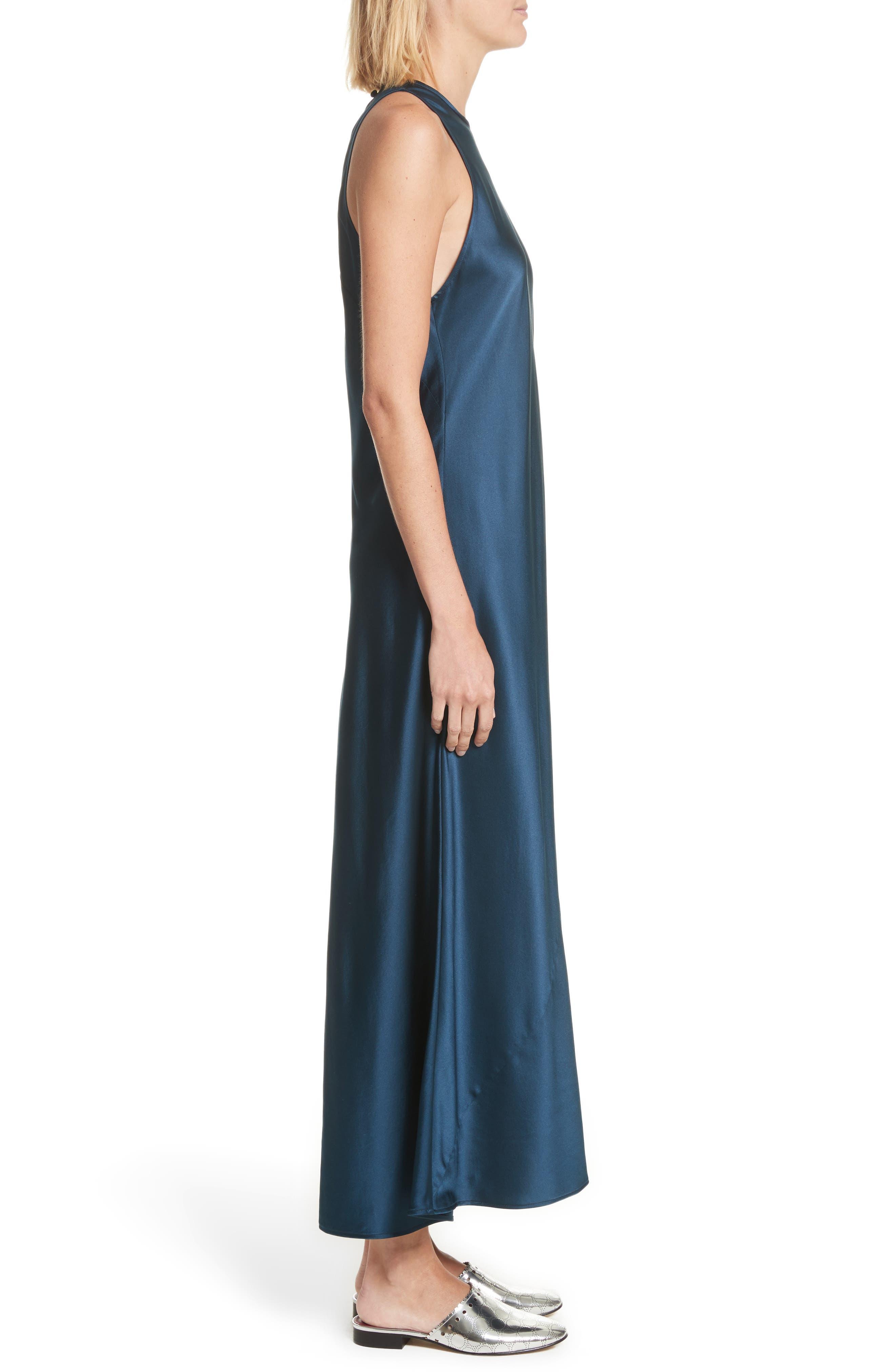 Mikel Stretch Silk Midi Dress,                             Alternate thumbnail 3, color,                             Admiral