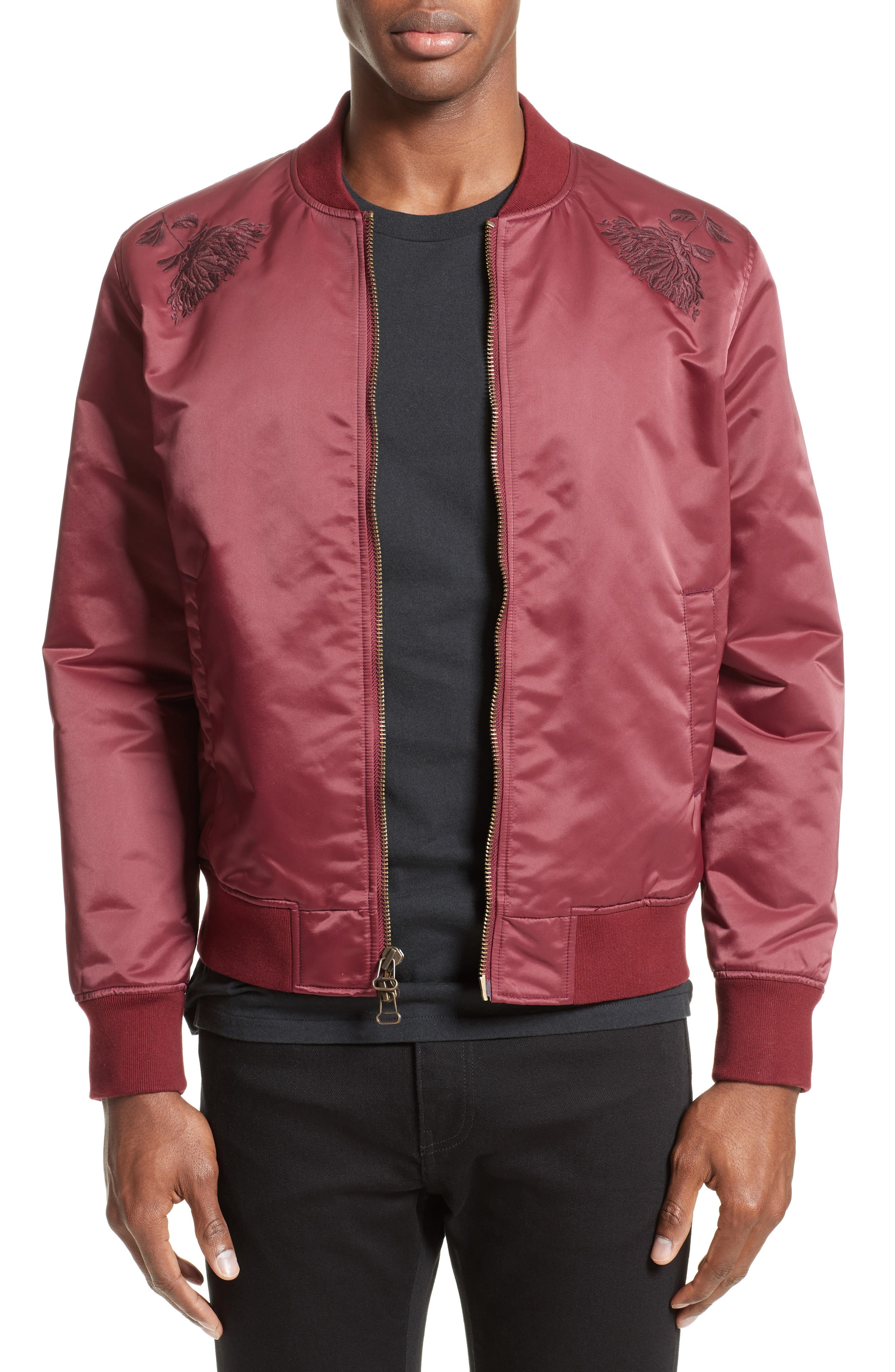 Embroidered Souvenir Bomber Jacket,                         Main,                         color, Red