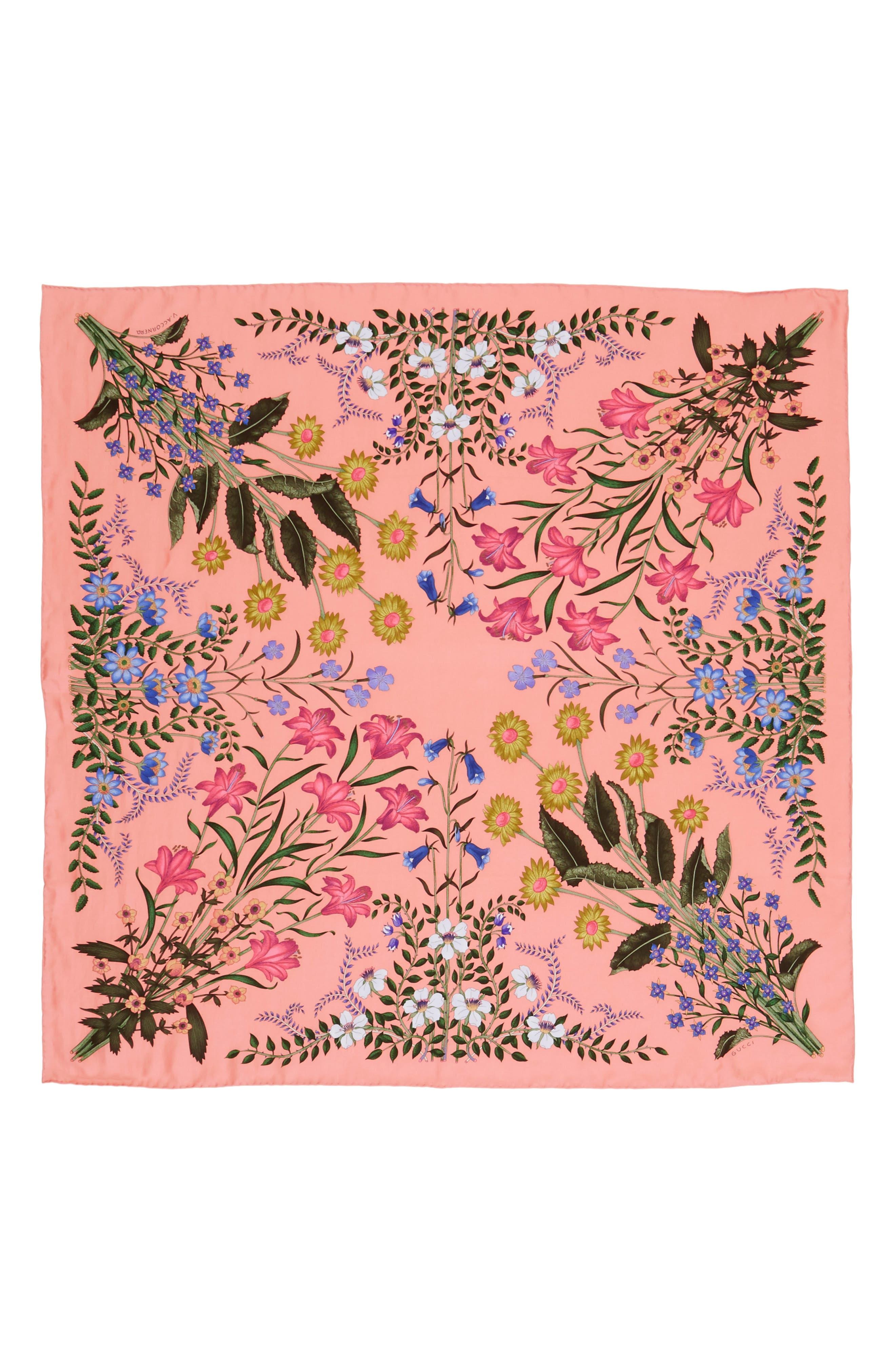 New Flora Foulard Scarf,                         Main,                         color, Rose