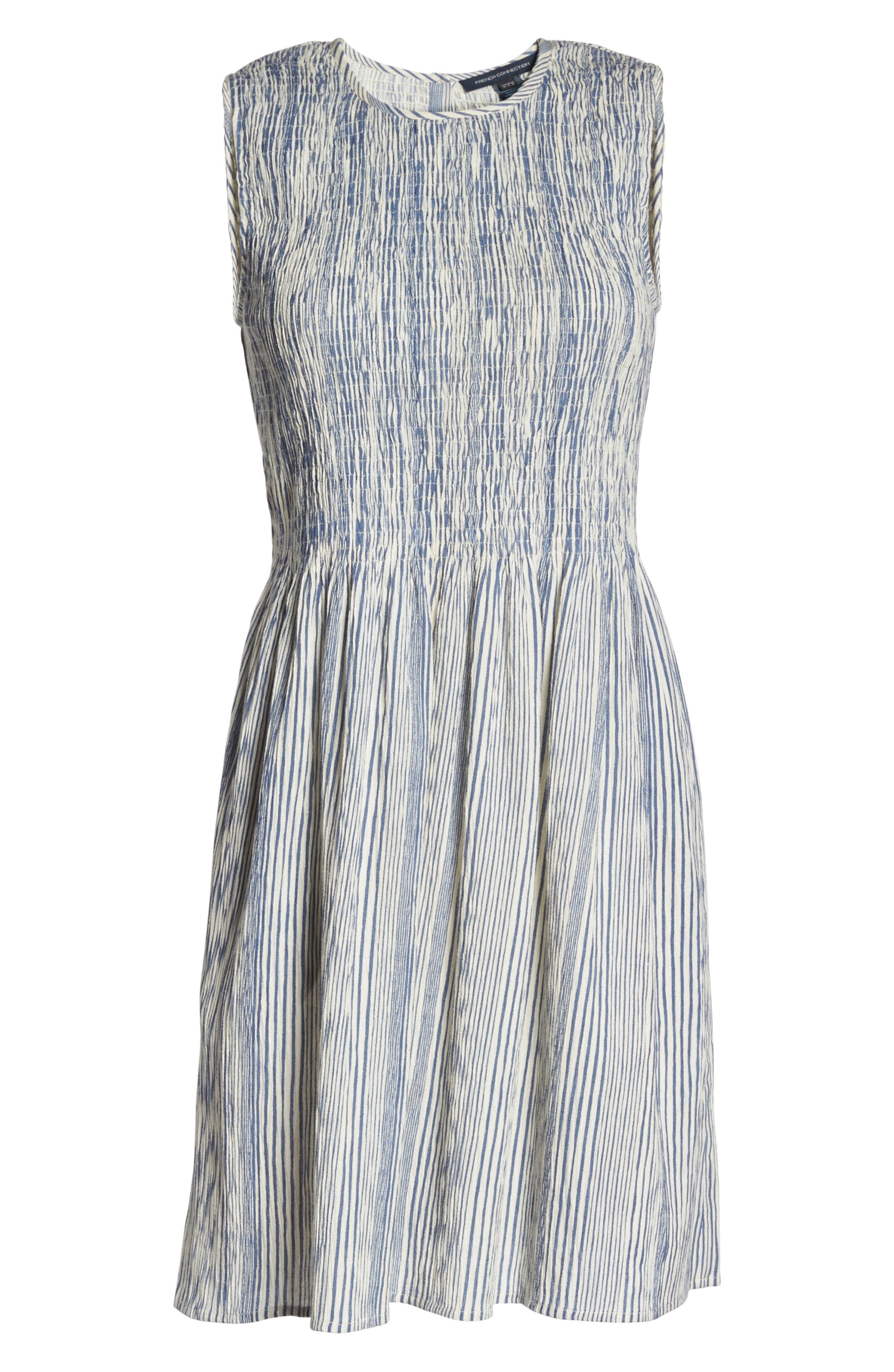 Serge Smocked Dress,                             Alternate thumbnail 6, color,                             Indian Ocean