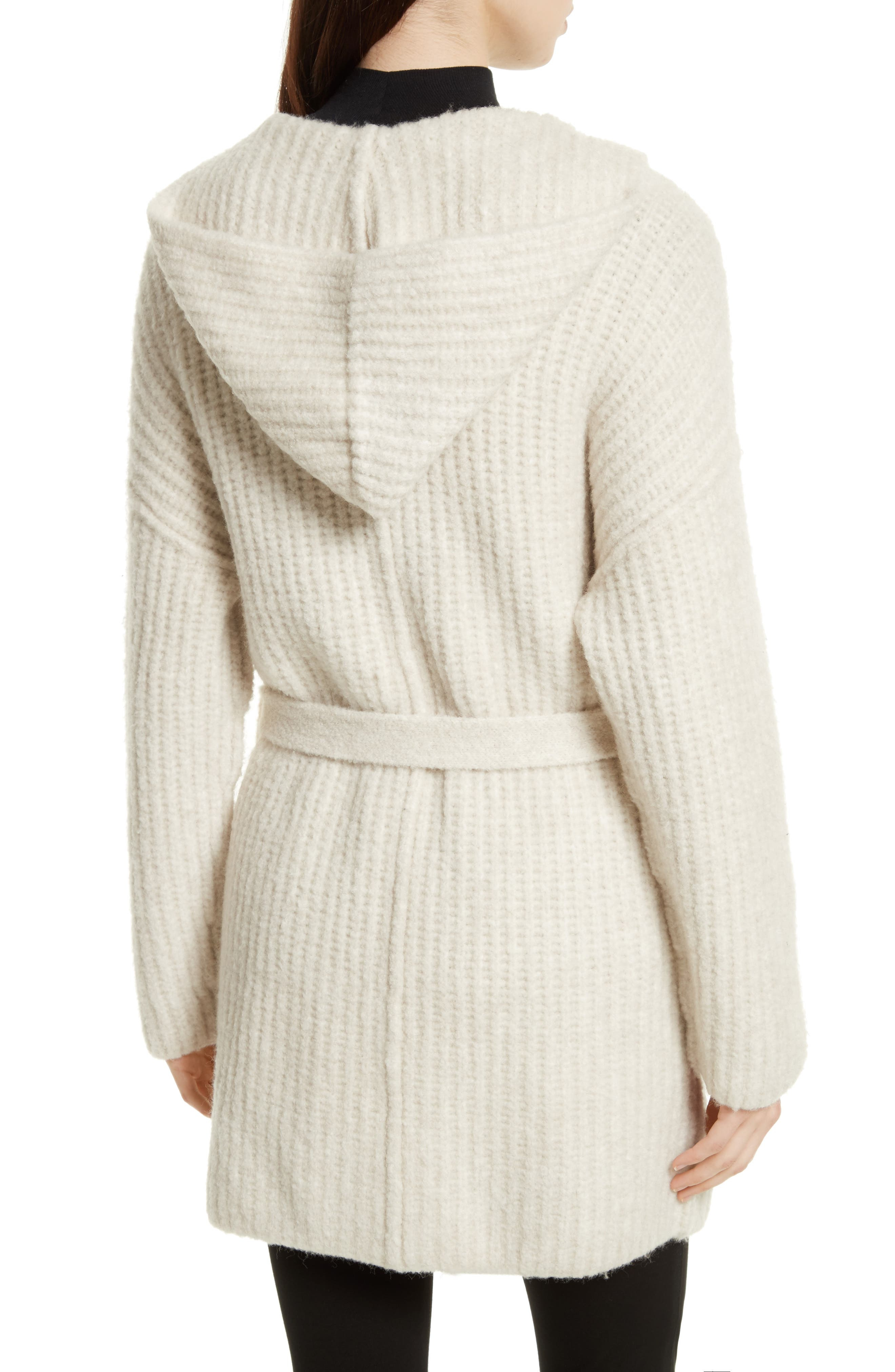Hooded Sweater Coat,                             Alternate thumbnail 3, color,                             Dusty Ivory