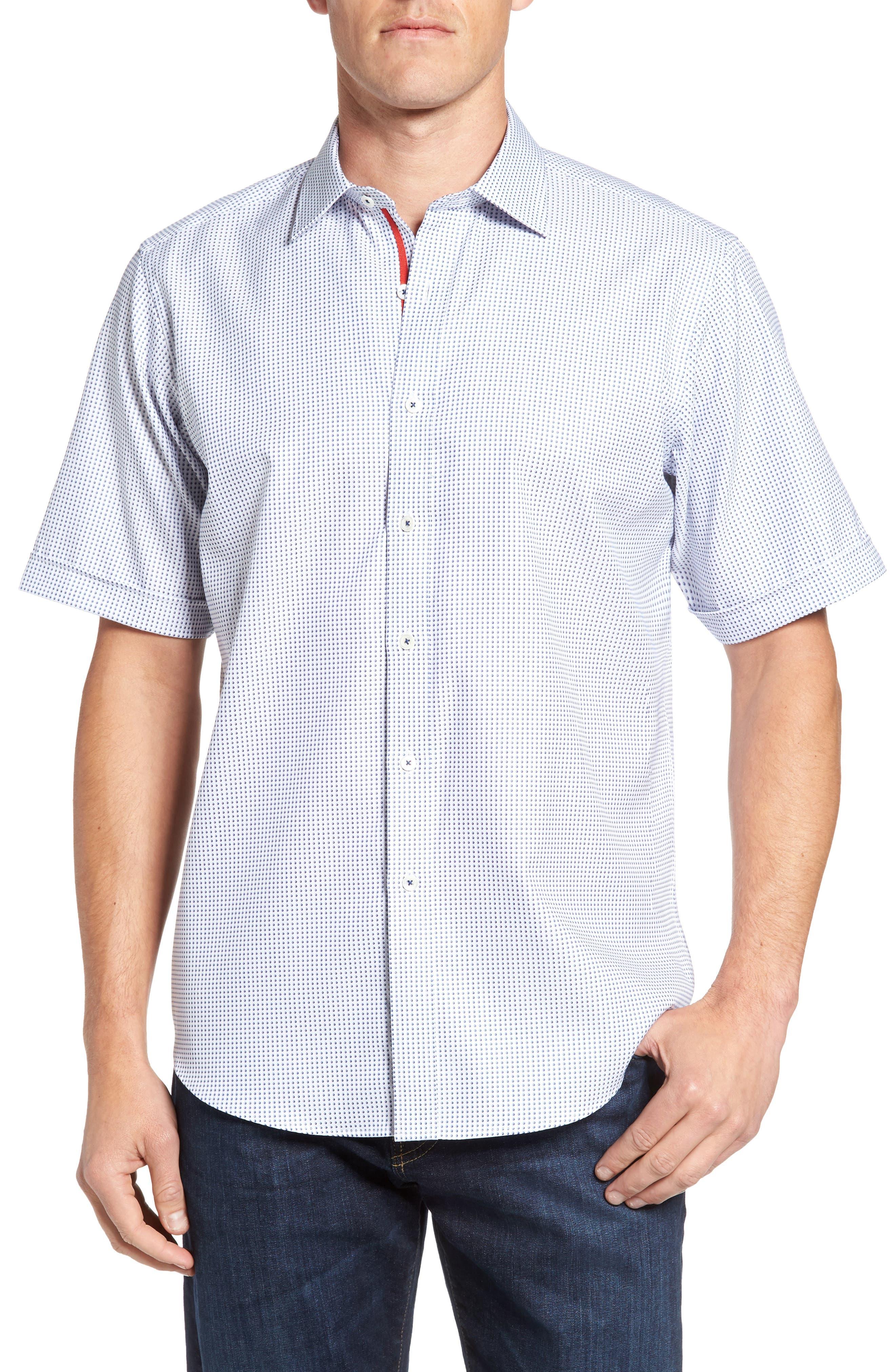 Classic Fit Dot Sport Shirt,                         Main,                         color, Navy