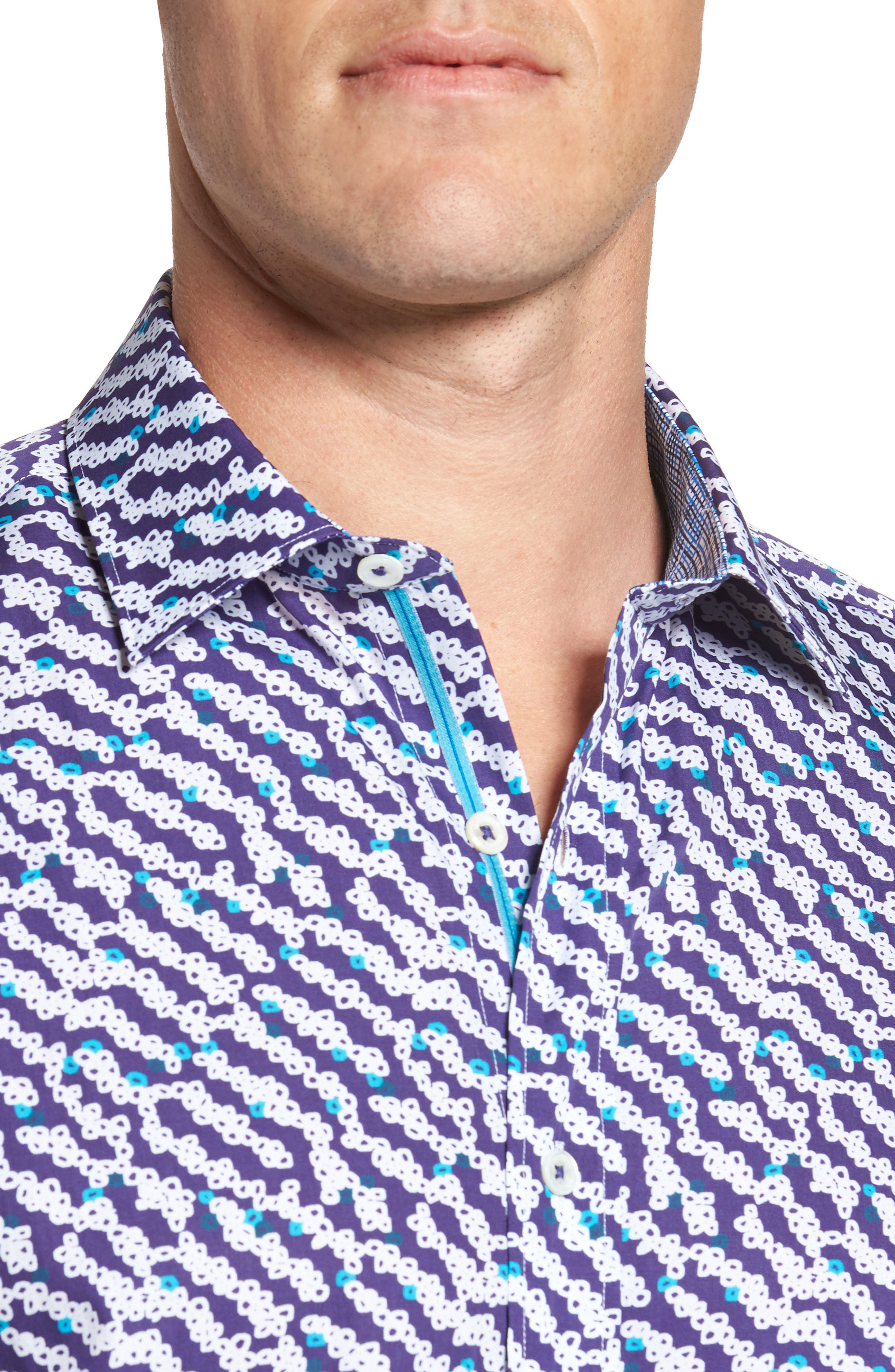 Alternate Image 4  - Bugatchi Classic Fit Print Short Sleeve Sport Shirt