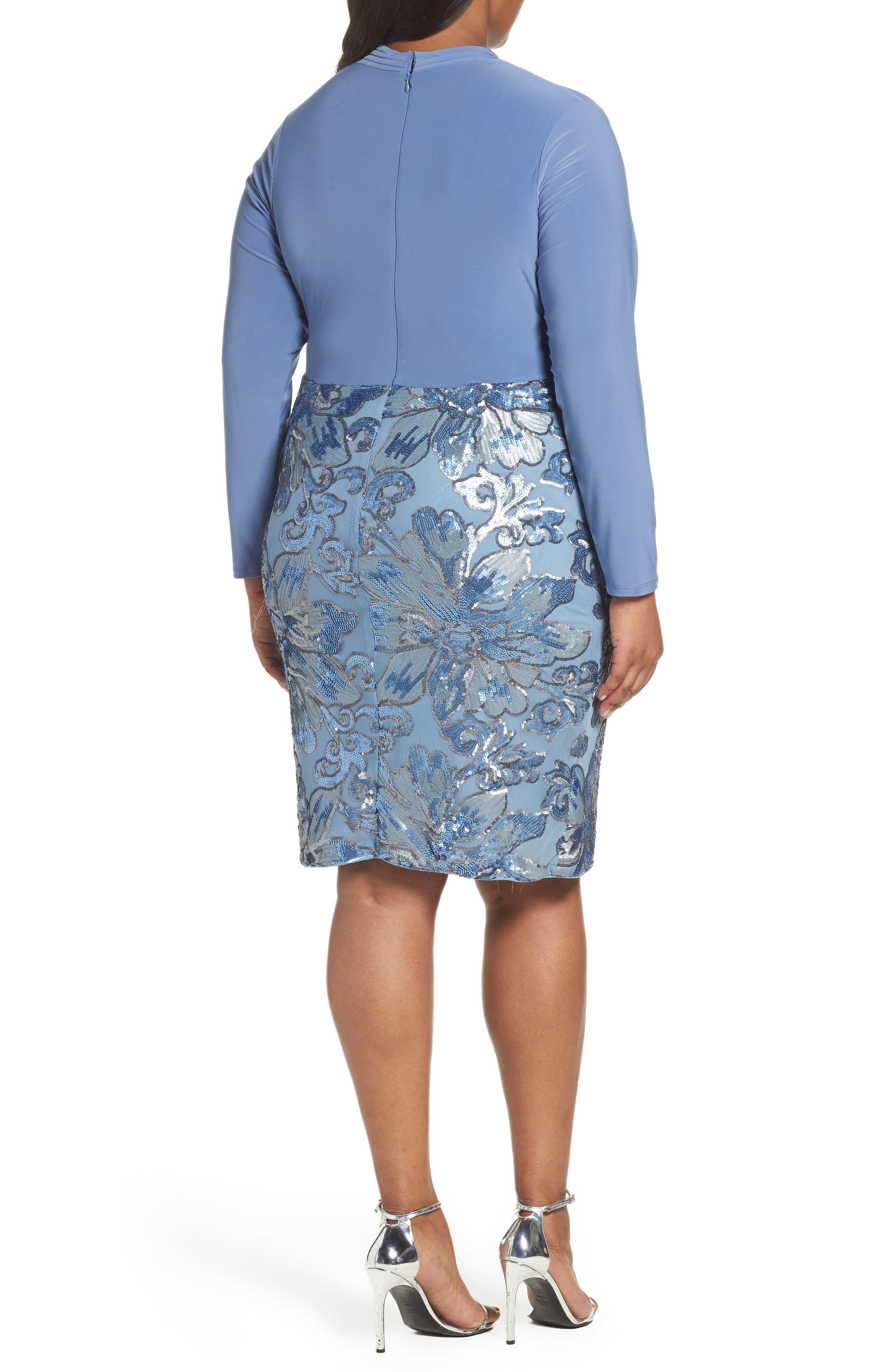 Sequin Faux Wrap Sheath Dress,                             Alternate thumbnail 2, color,                             Periwinkle
