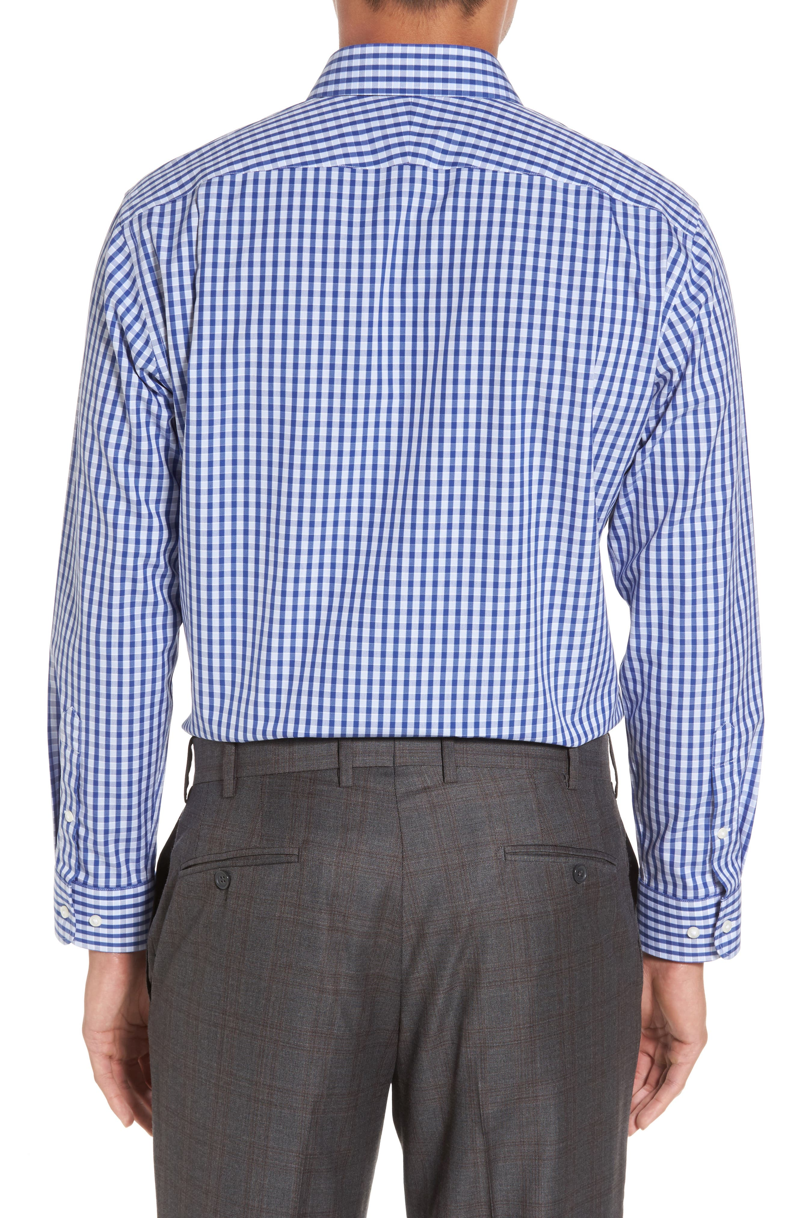 Smartcare<sup>™</sup> Trim Fit Check Dress Shirt,                             Alternate thumbnail 3, color,                             Blue Marine