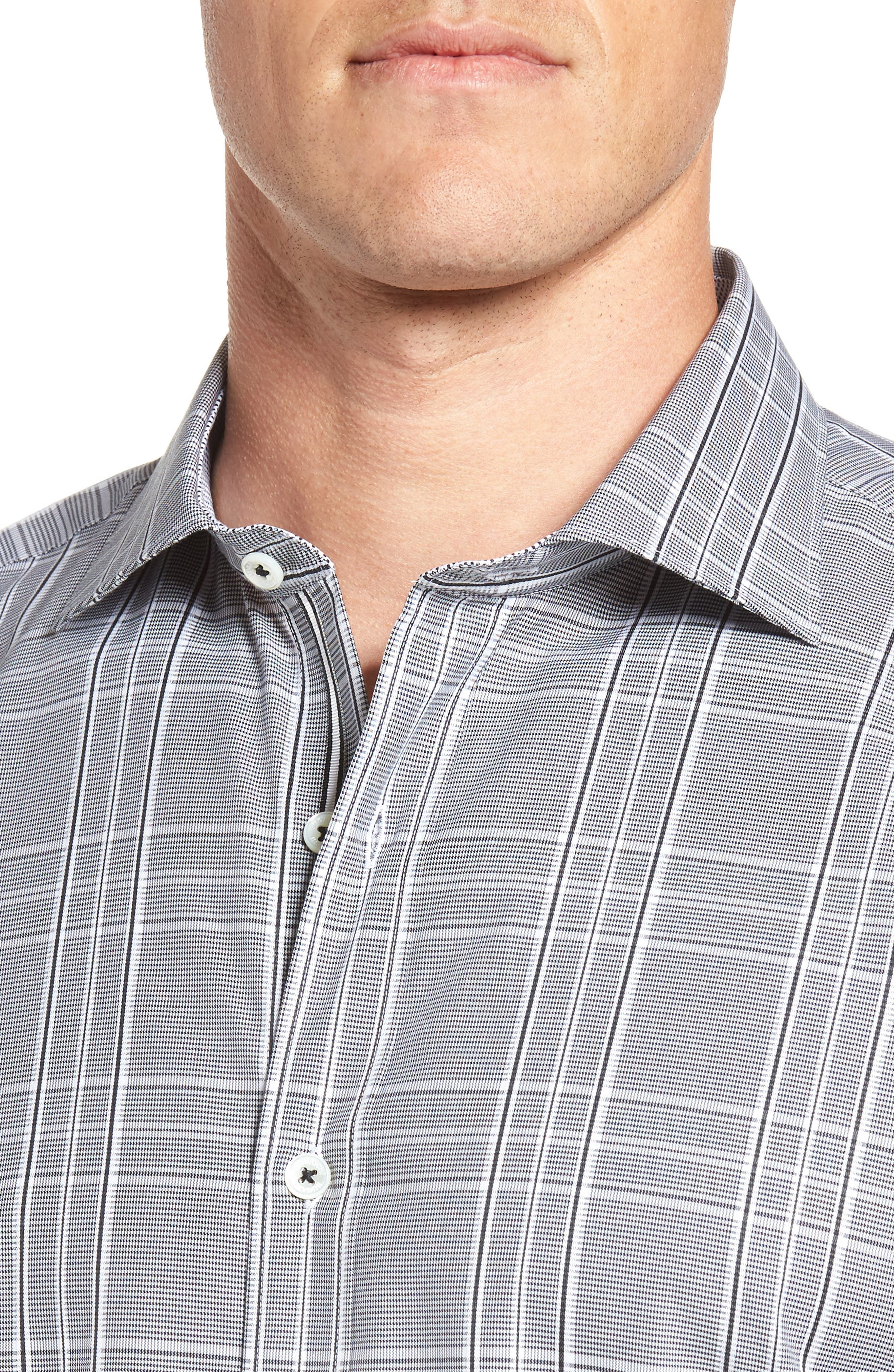 Shaped Fit Sport Shirt,                             Alternate thumbnail 4, color,                             Black