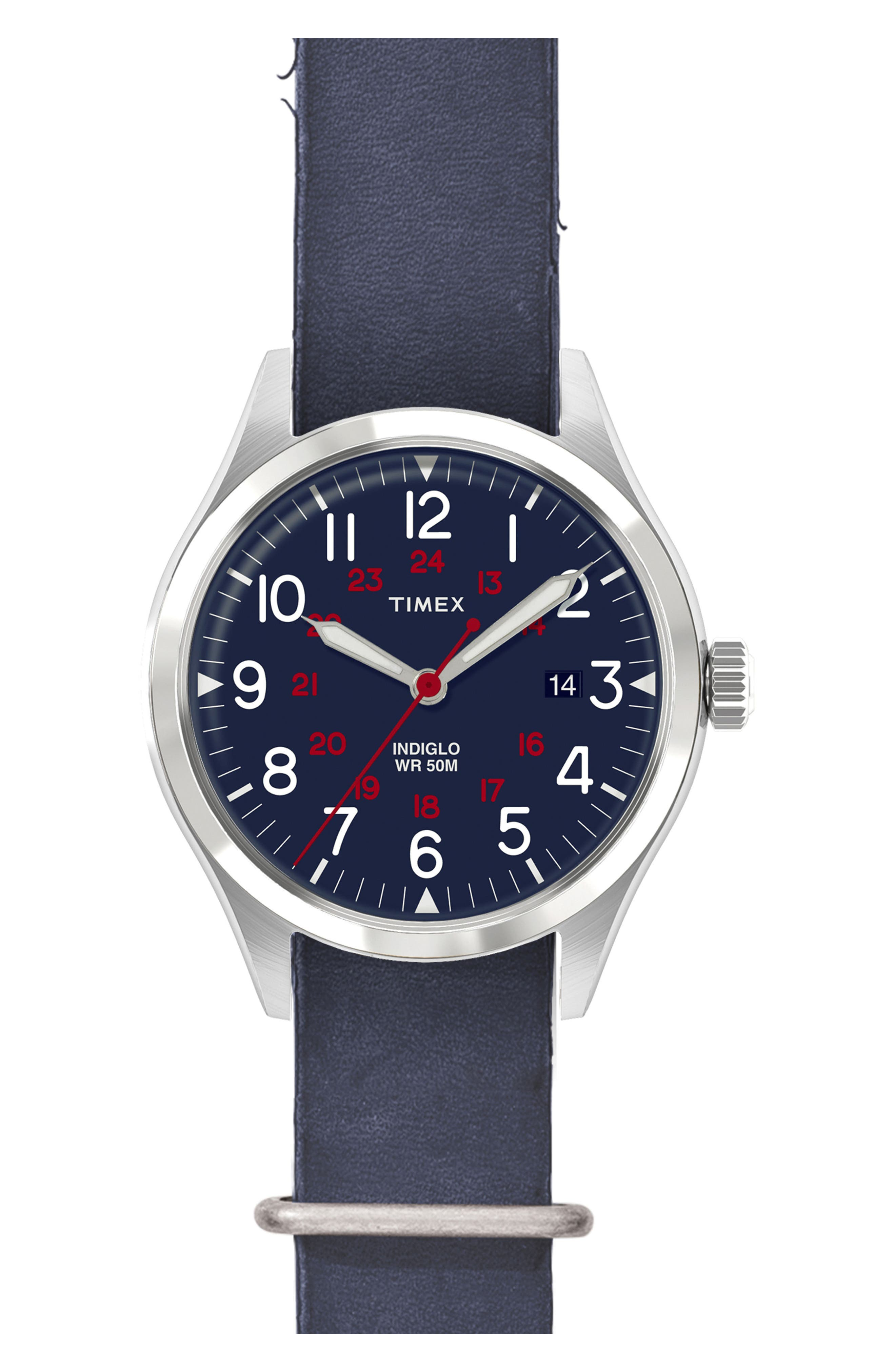 Timex<sup>®</sup> Waterbury United Leather Strap Watch, 38mm,                         Main,                         color, Blue/ Blue Washed Leather