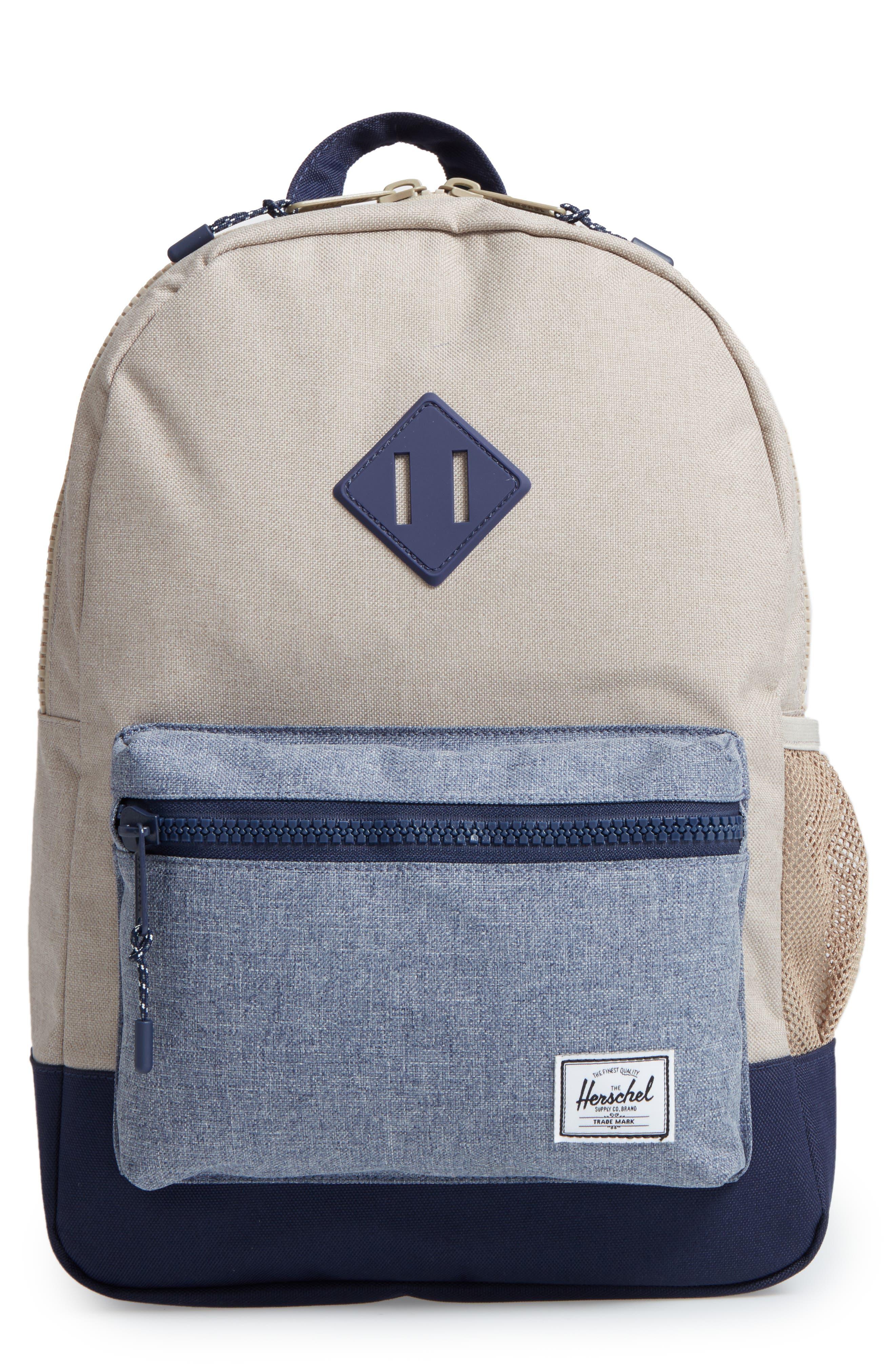 Heritage Backpack,                         Main,                         color, Khaki Chambray Crosshatch