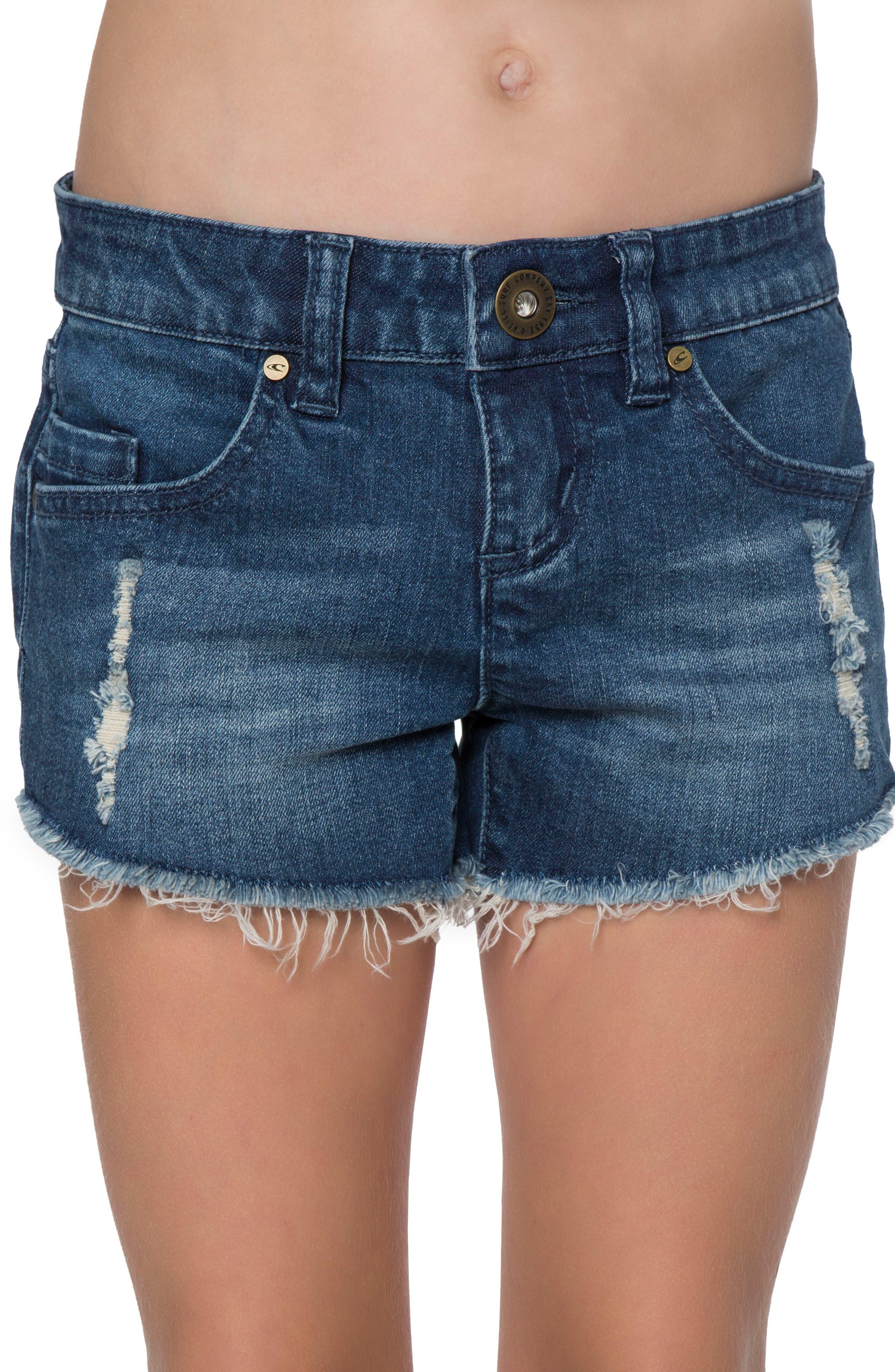 Main Image - O'Neill Camper Denim Shorts (Big Girls)